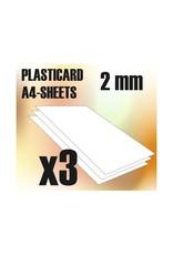Green Stuff World ABS PLASTICARD: PLAIN SHEET 2MM 3 PACK