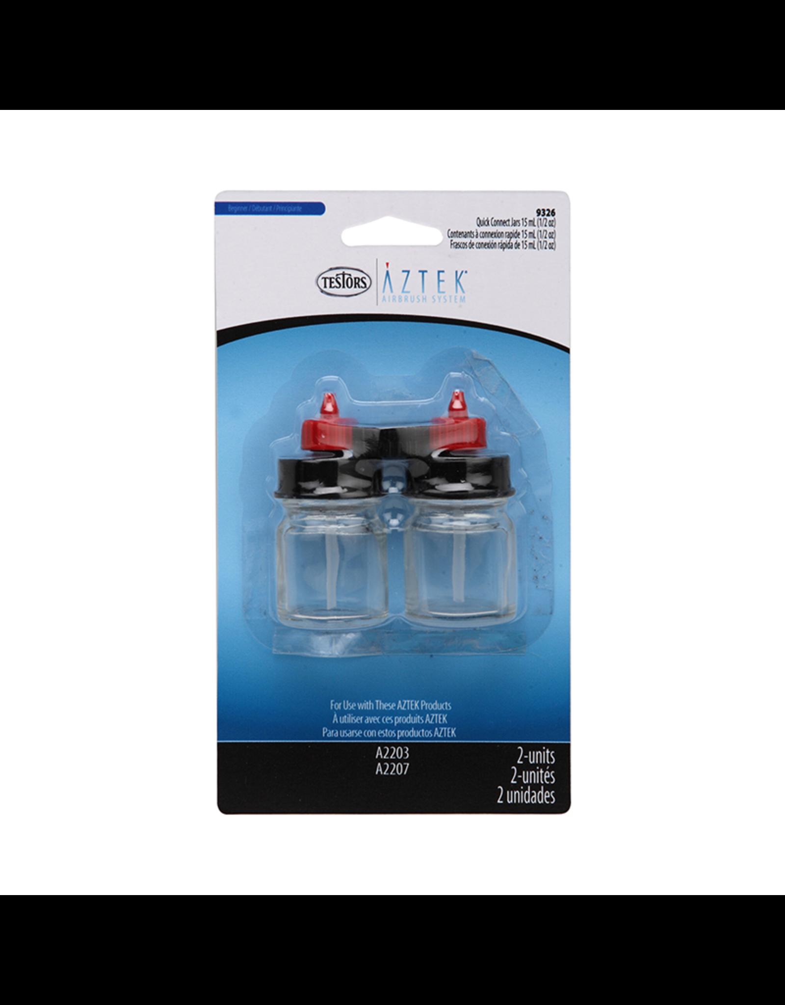 Testors GLASS BOTTLES 1/2OZ W/ 28MM QUICK CONNECT 2/PK