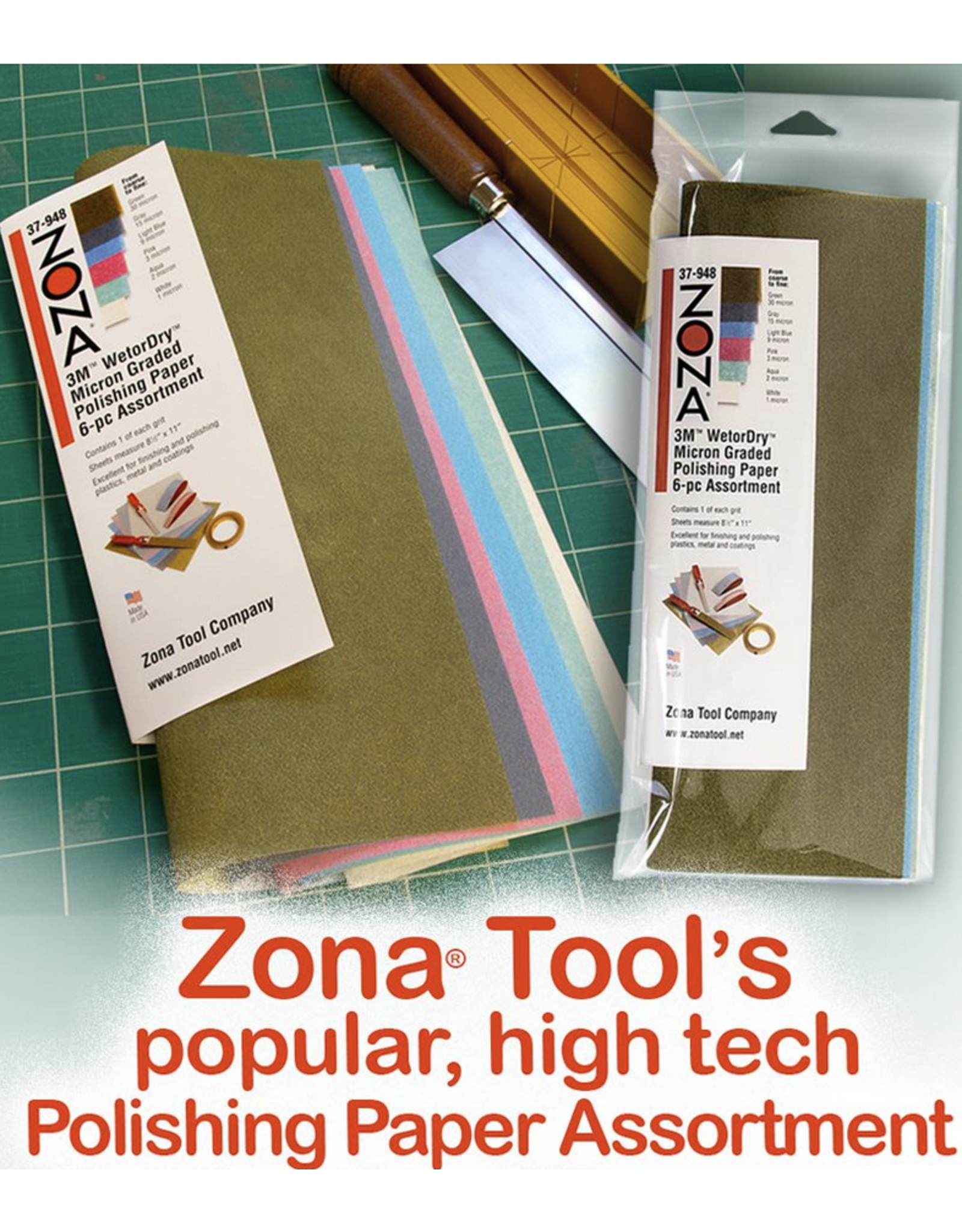 Zona Tool Company 3M WETORDRY POLISHING PAPER ASSORTED 6PC