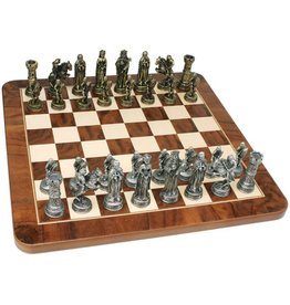 Wood Expressions MEDIEVAL CHESS SET - PEWTER PIECES & WALNUT ROOT BOARD 17 IN.