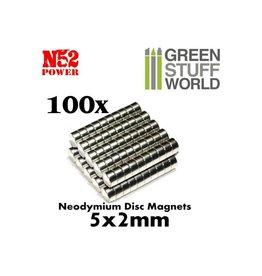 Green Stuff World N52 NEODYMIUM MAGNETS 5X2MM - 100CT