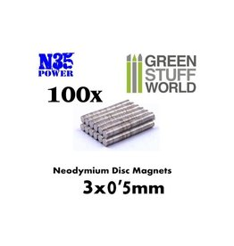 Green Stuff World NEODYMIUM MAGNETS 3X0.5MM - 100CT