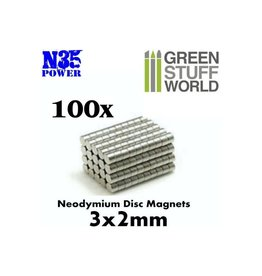 Green Stuff World NEODYMIUM MAGNETS 3X2MM - 100CT