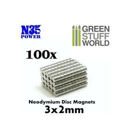 Green Stuff World NEODYMIUM N35 MAGNETS 3X2MM - 100CT