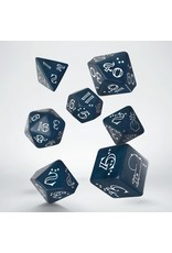 Q-Workshop 7PC SHIMMERING LLAMA DICE SET BLUE AND WHITE