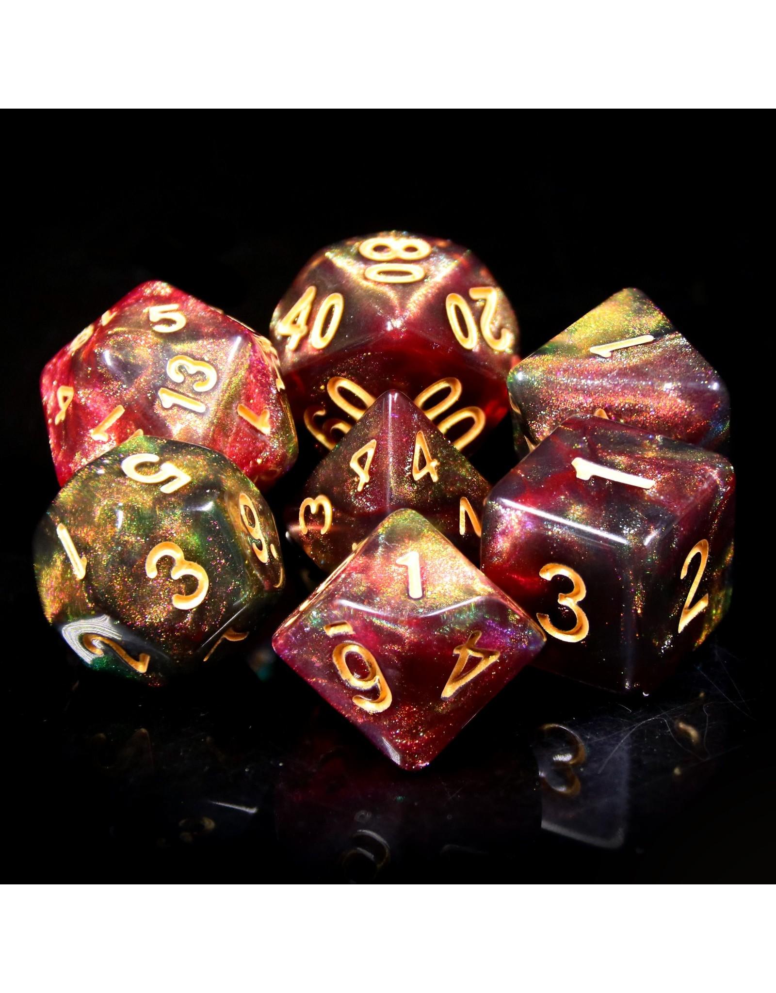 HengDa Dice 7PC RPG DICE - MIDNIGHT ROSE