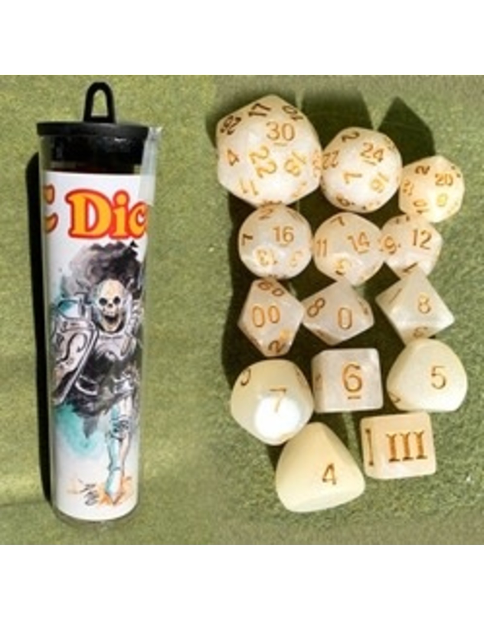 14PC DCC RPG DICE - SKELETON SAINT