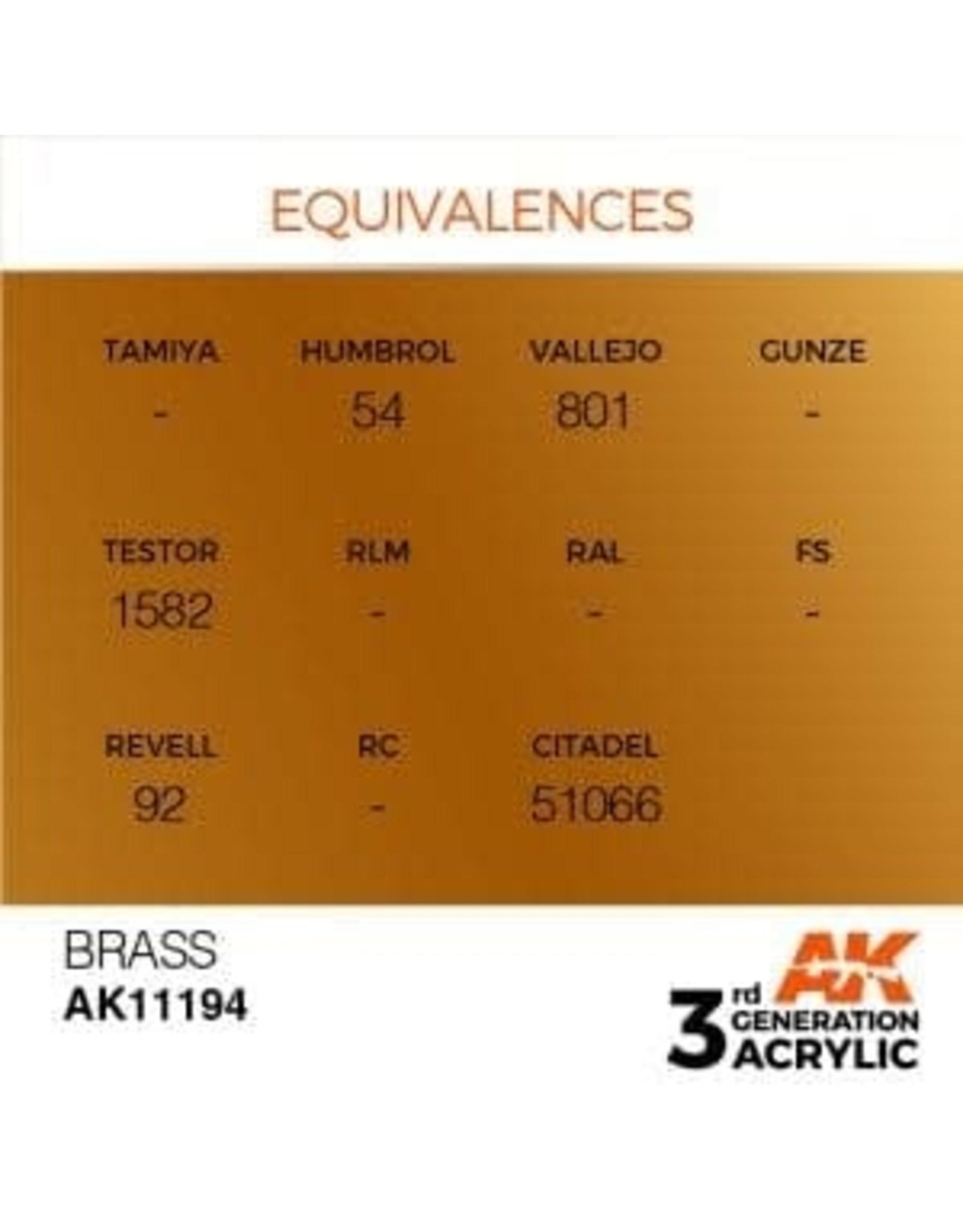 AK Interactive 3RD GEN ACRYLIC BRASS 17ML