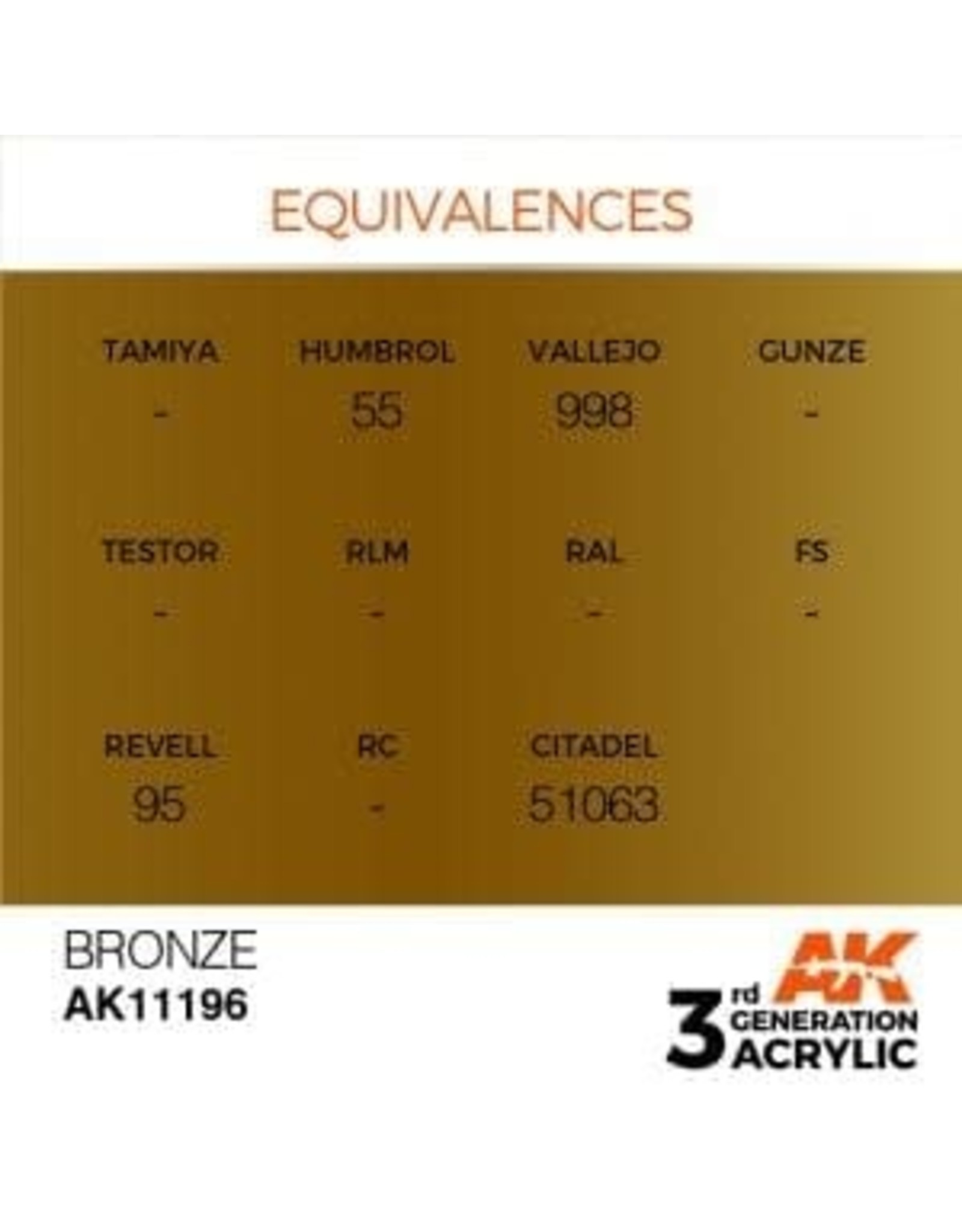 AK Interactive 3RD GEN ACRYLIC BRONZE 17ML