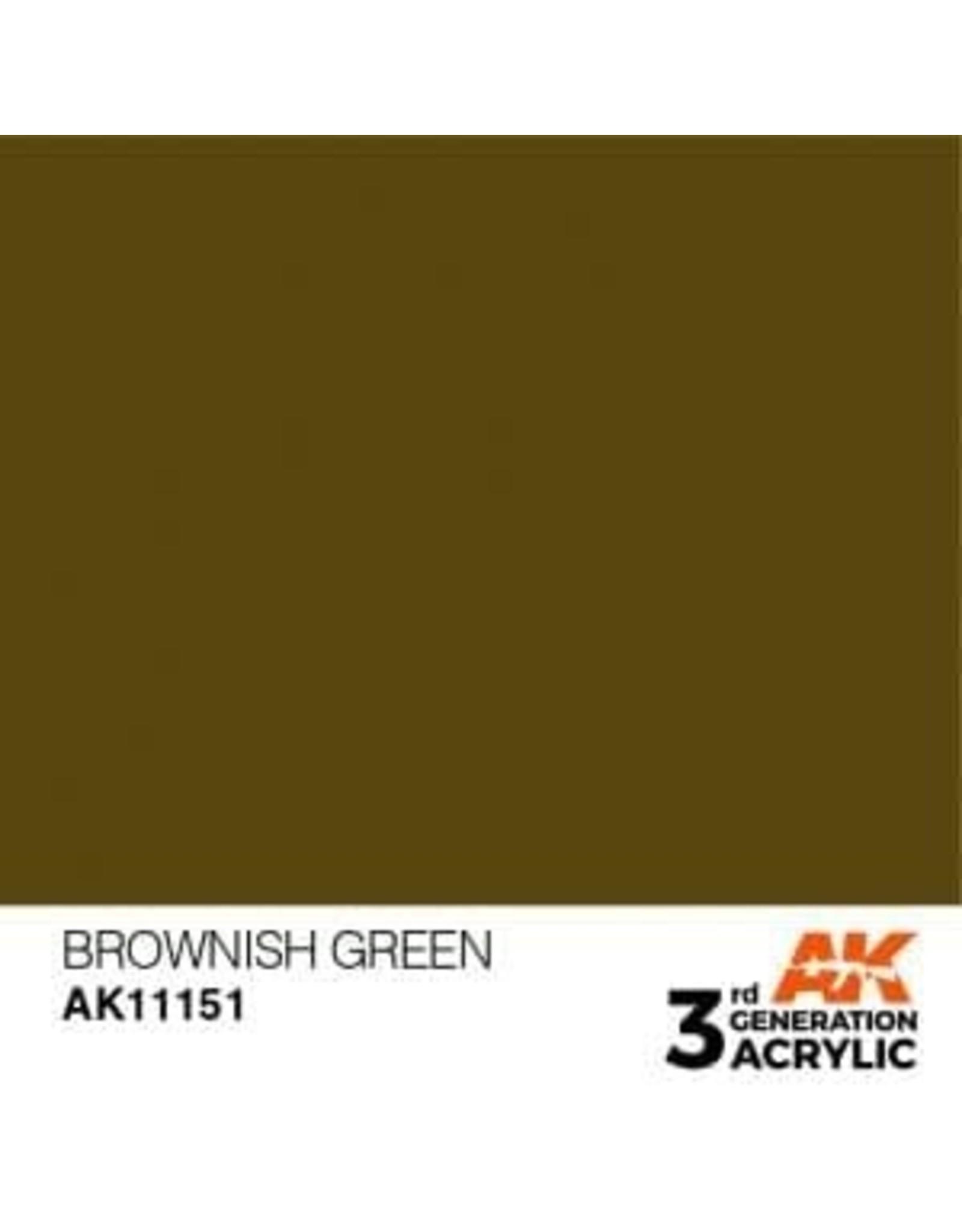 AK Interactive 3RD GEN ACRYLIC BROWNISH GREEN 17ML