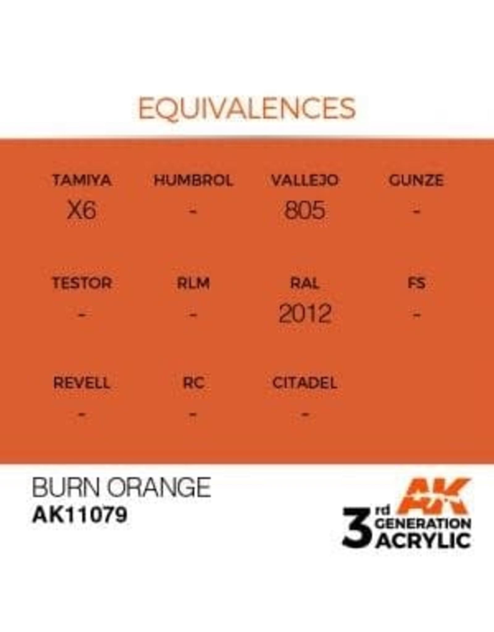 AK Interactive 3RD GEN ACRYLIC BURN ORANGE 17ML
