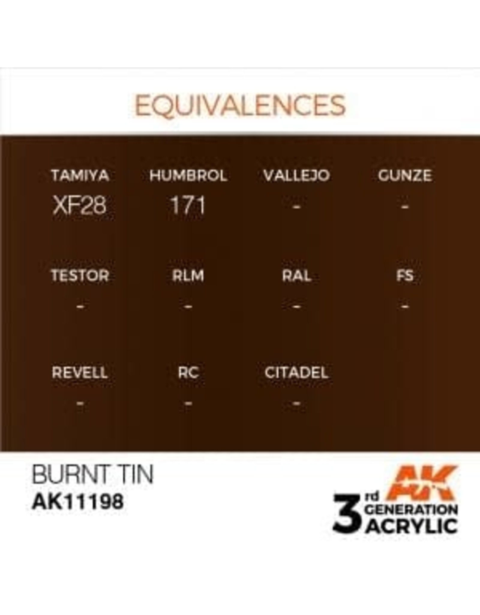AK Interactive 3RD GEN ACRYLIC BURNT TIN 17ML
