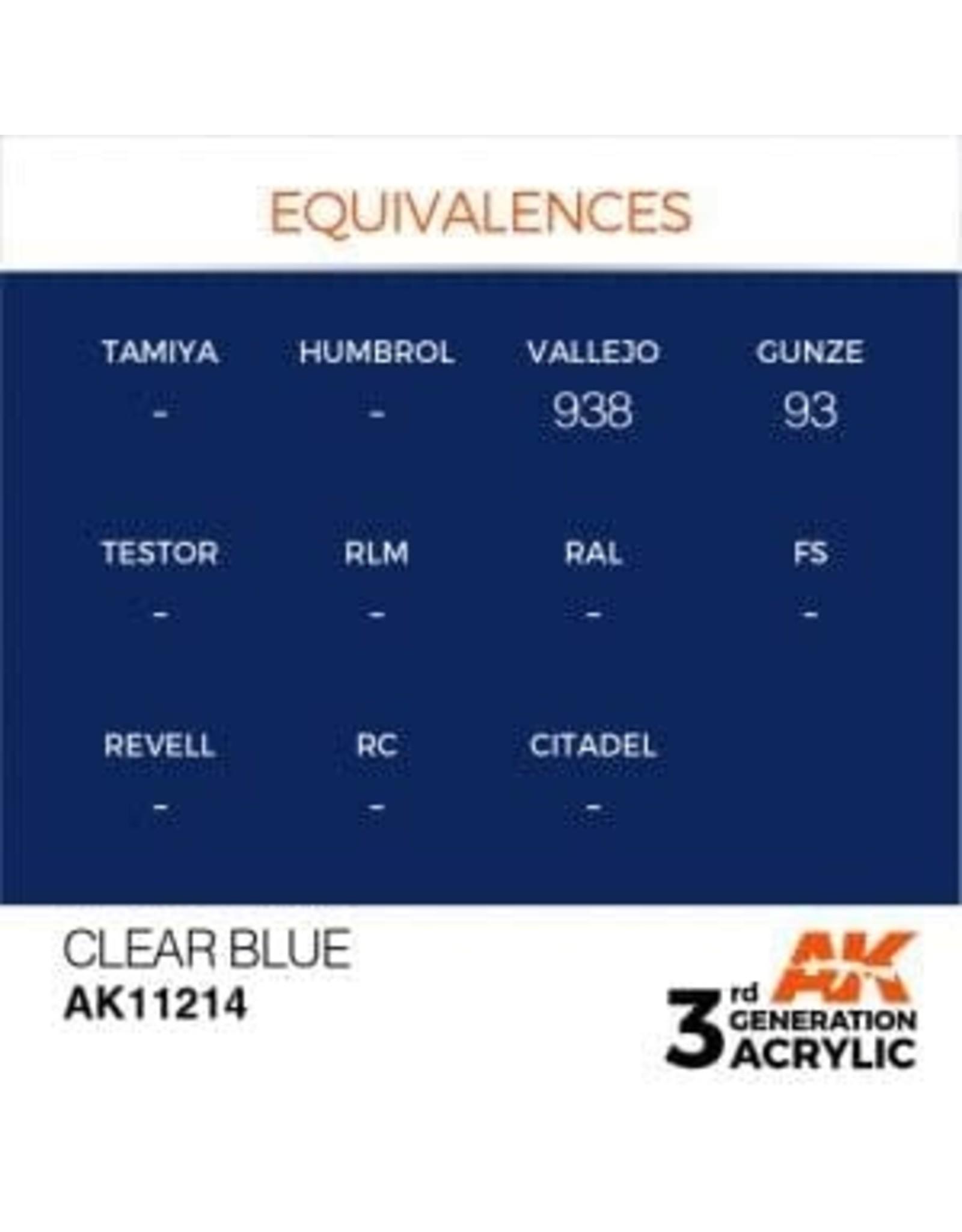AK Interactive 3RD GEN ACRYLIC CLEAR BLUE 17ML