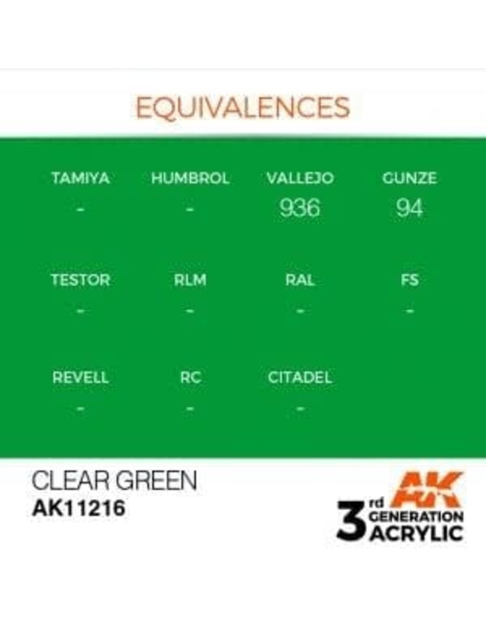 AK Interactive 3RD GEN ACRYLIC CLEAR GREEN 17ML