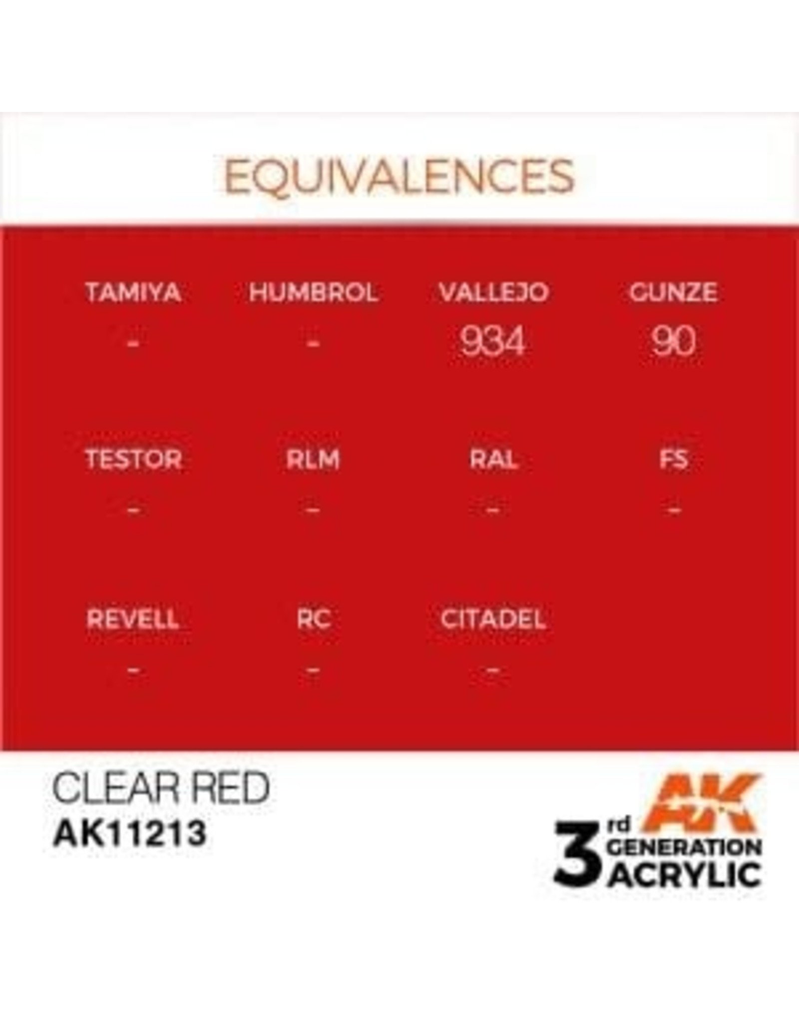 AK Interactive 3RD GEN ACRYLIC CLEAR RED 17ML