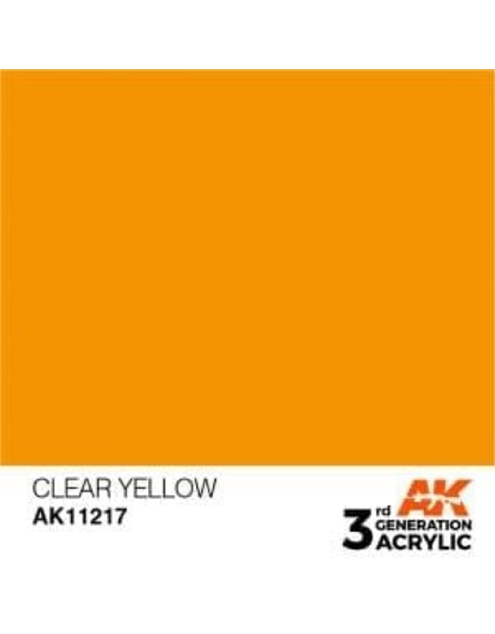 AK Interactive 3RD GEN ACRYLIC CLEAR YELLOW 17ML