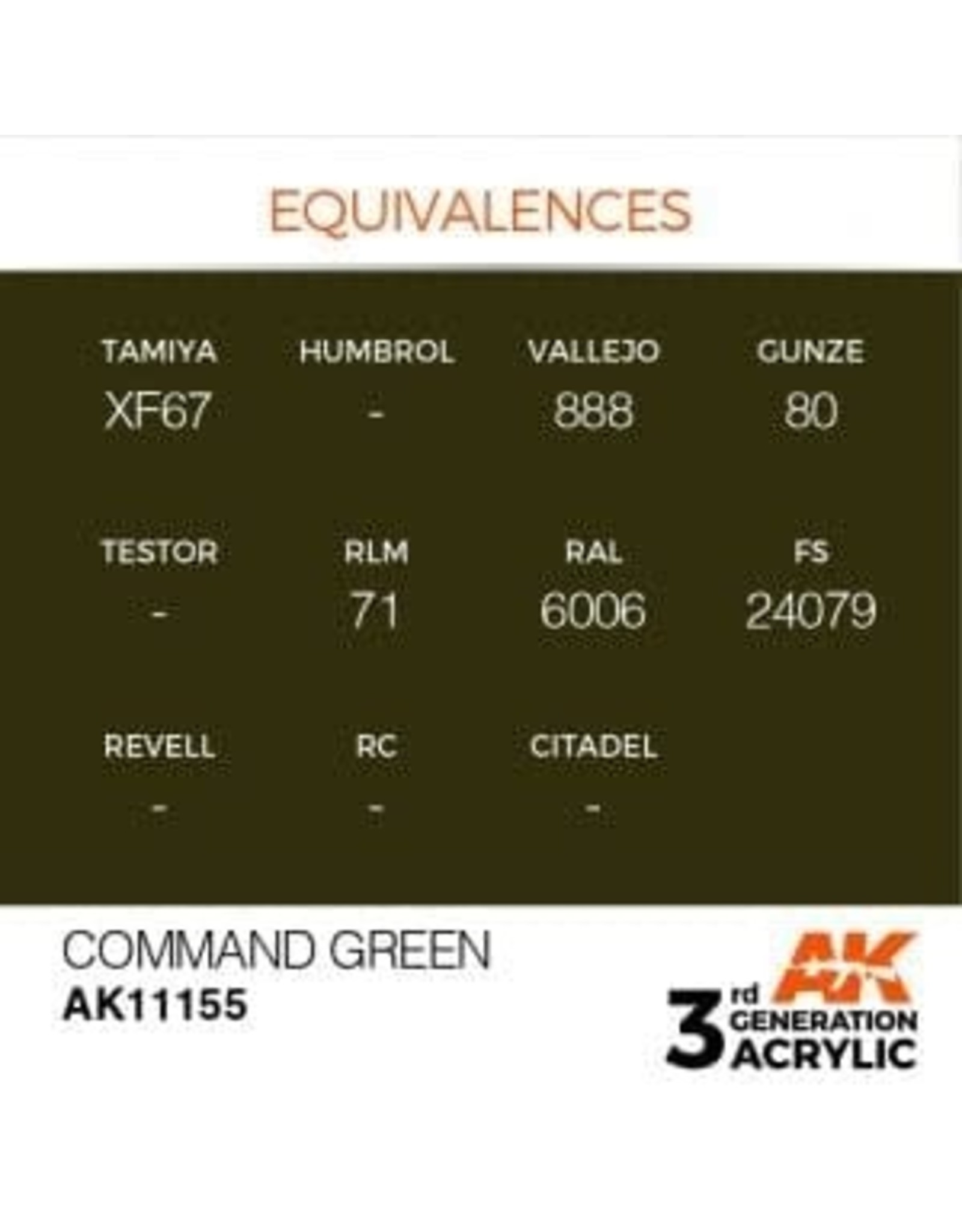 AK Interactive 3RD GEN ACRYLIC COMMAND GREEN 17ML