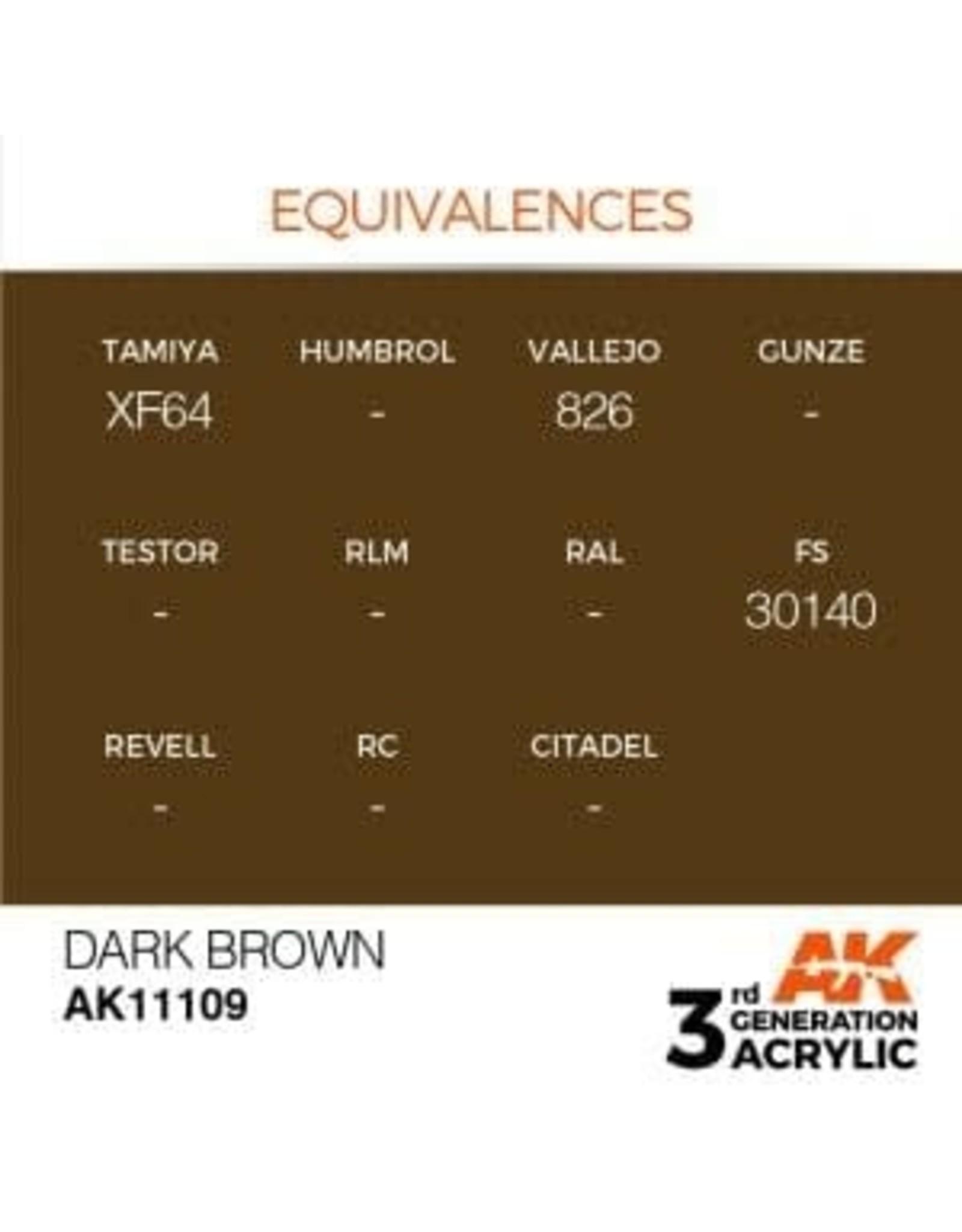 AK Interactive 3RD GEN ACRYLIC DARK BROWN 17ML