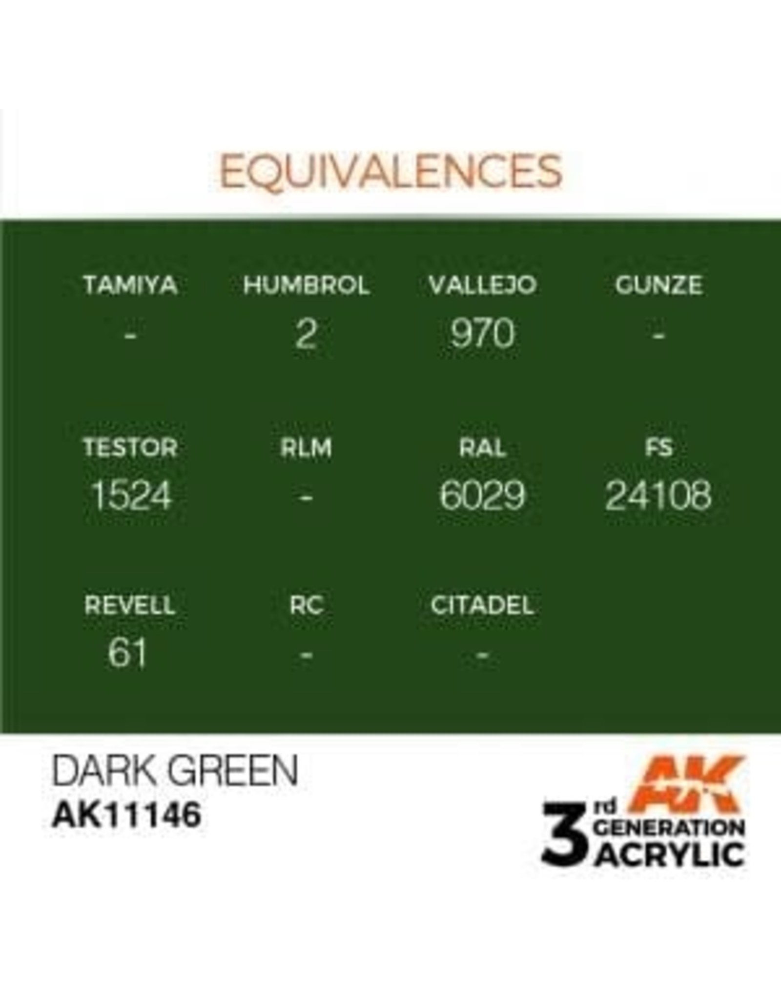 AK Interactive 3RD GEN ACRYLIC DARK GREEN 17ML