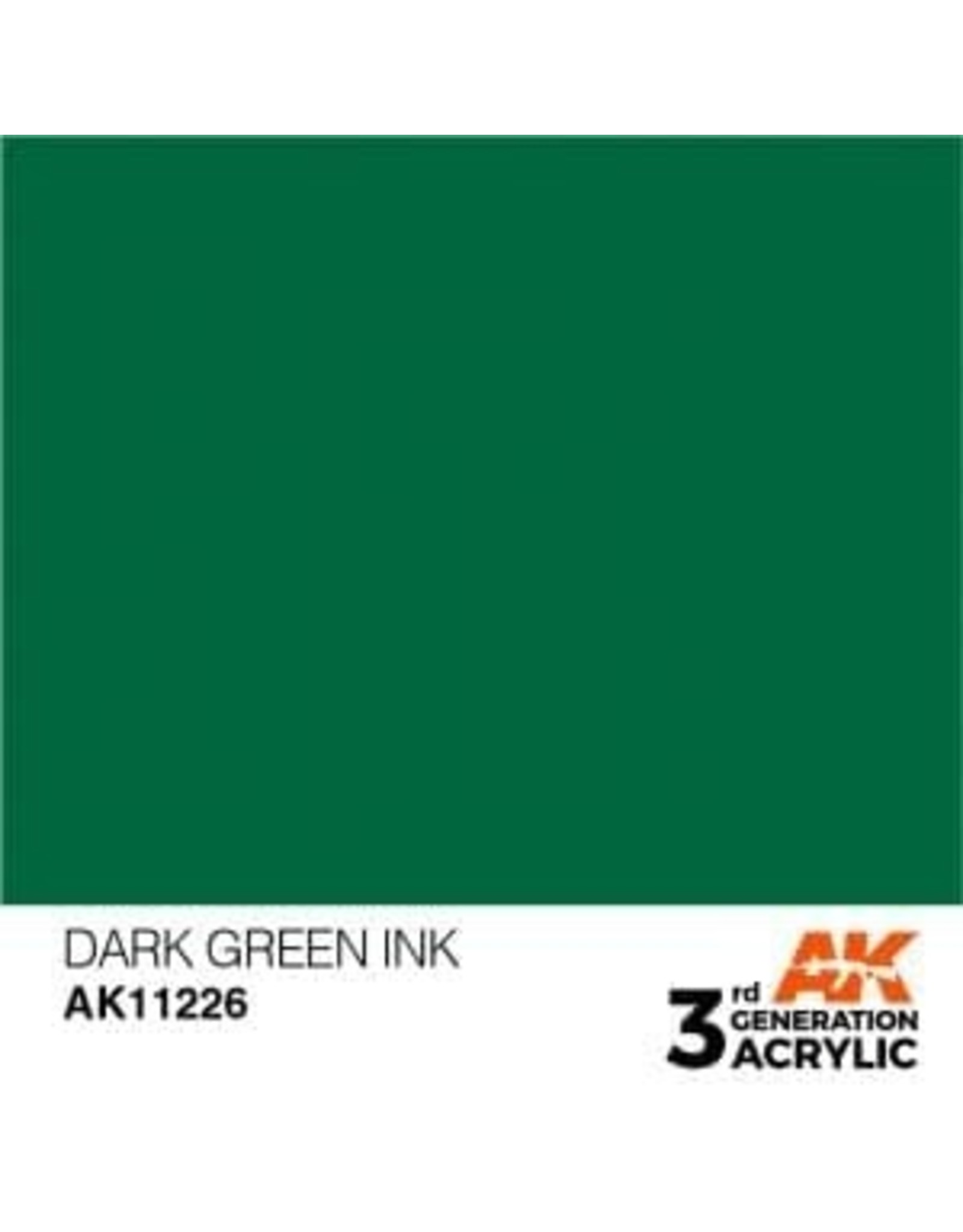 AK Interactive 3RD GEN ACRYLIC DARK GREEN INK 17ML