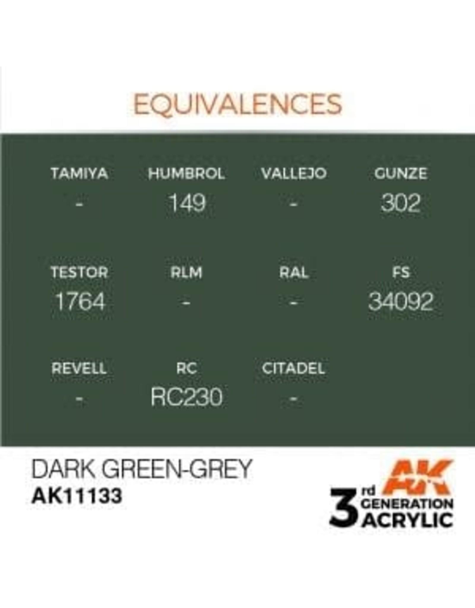 AK Interactive 3RD GEN ACRYLIC DARK GREEN-GREY 17ML