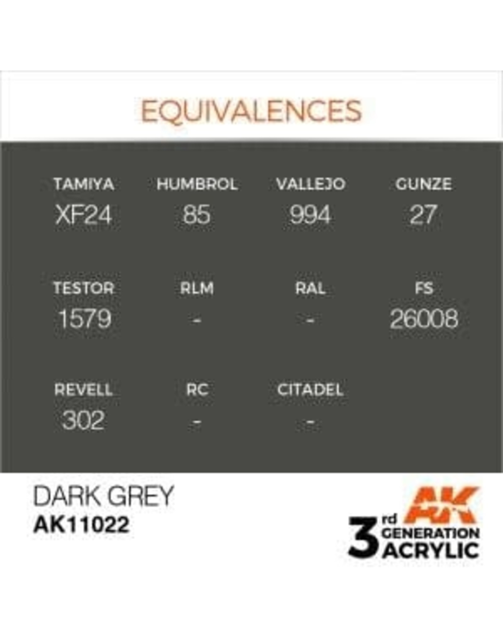 AK Interactive 3RD GEN ACRYLIC DARK GREY 17ML