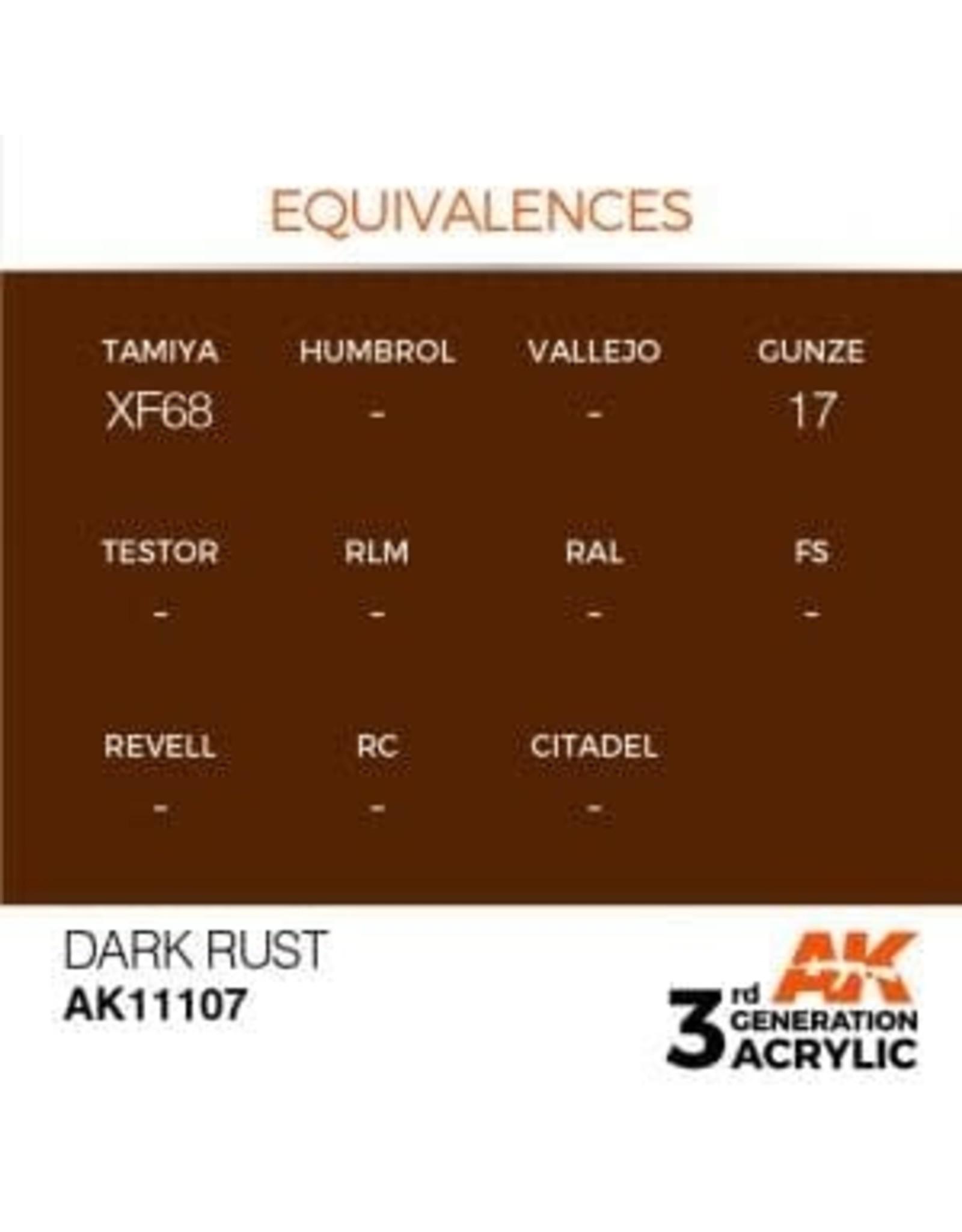 AK Interactive 3RD GEN ACRYLIC DARK RUST 17ML