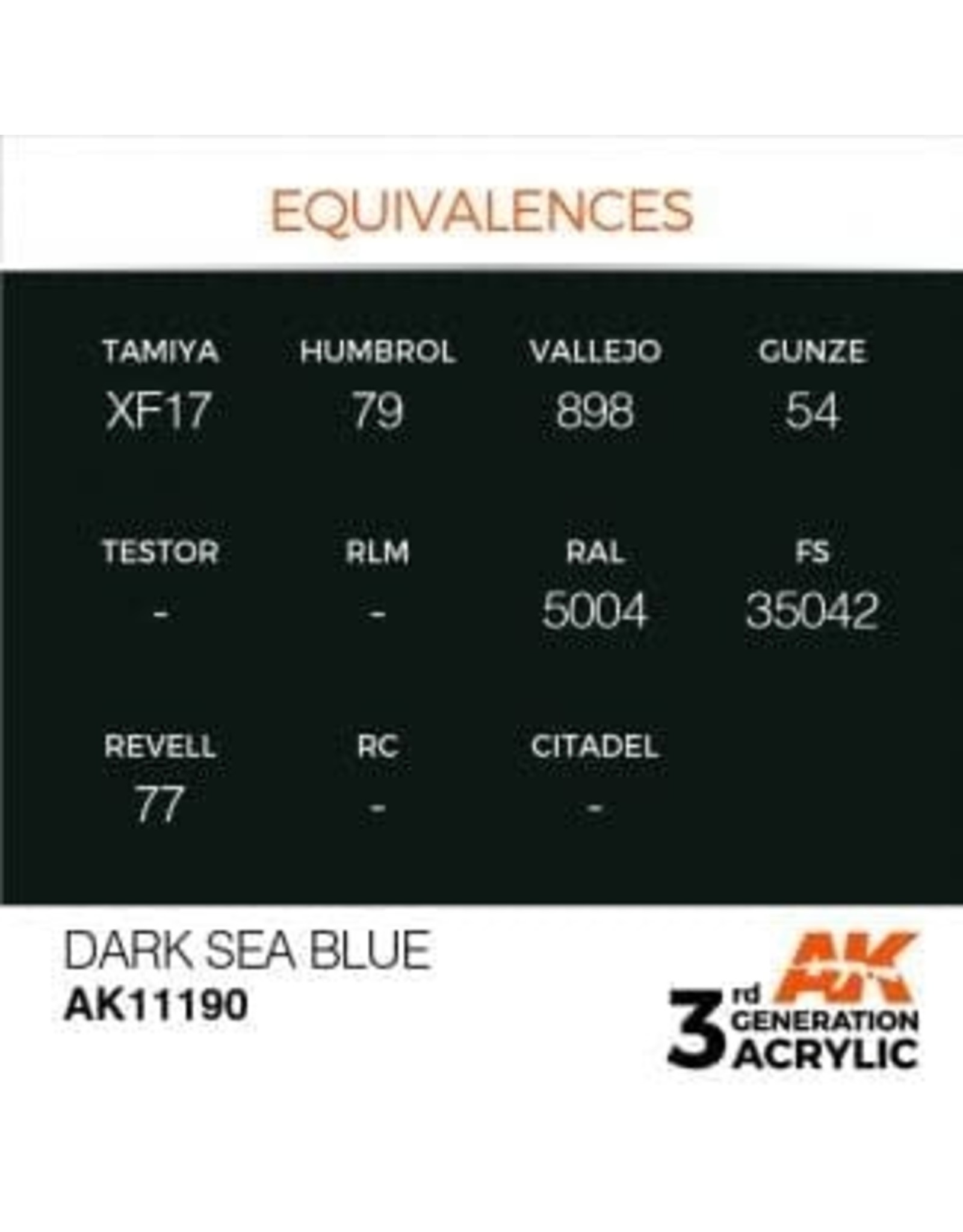AK Interactive 3RD GEN ACRYLIC DARK SEA BLUE 17ML