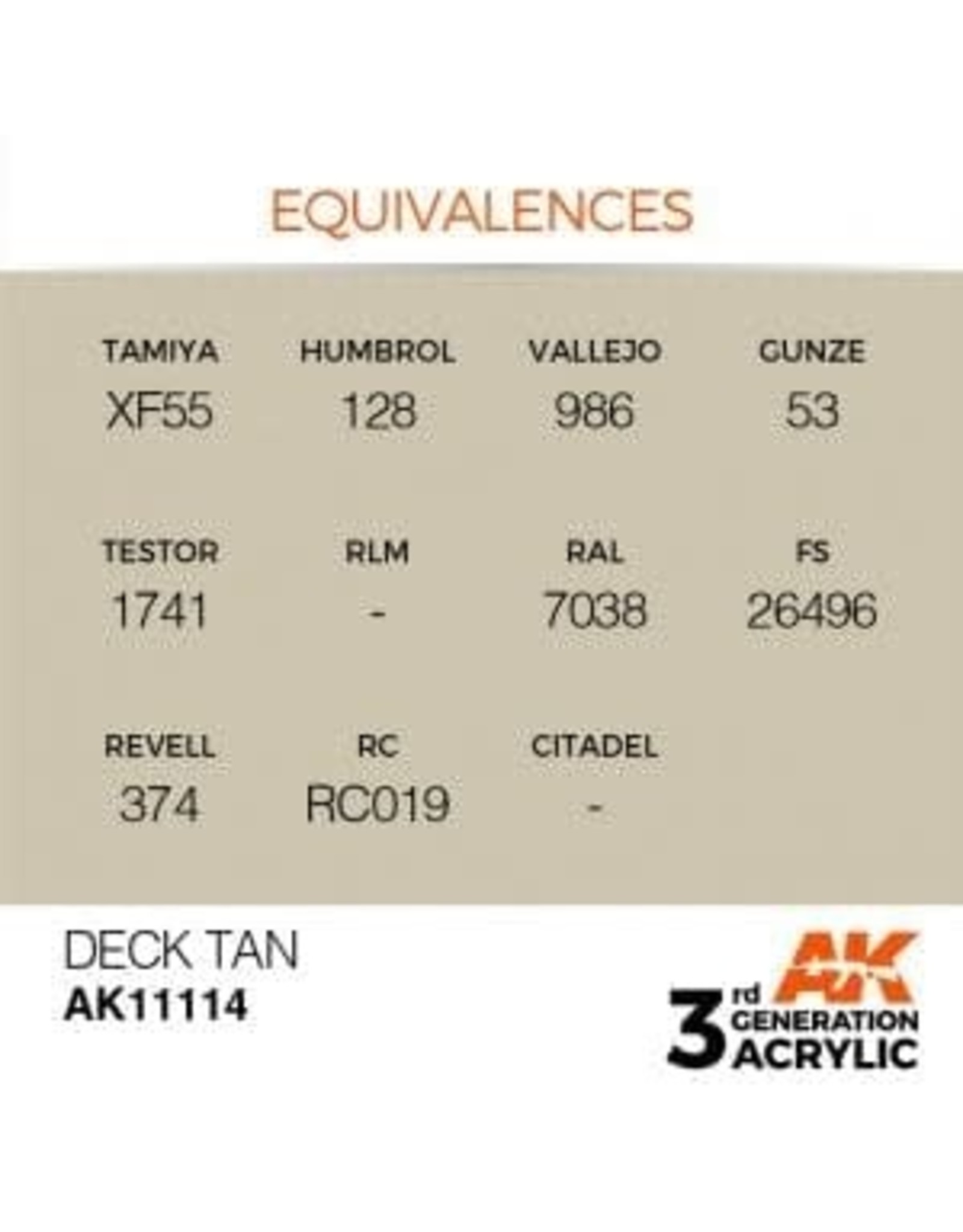 AK Interactive 3RD GEN ACRYLIC DECK TAN 17ML
