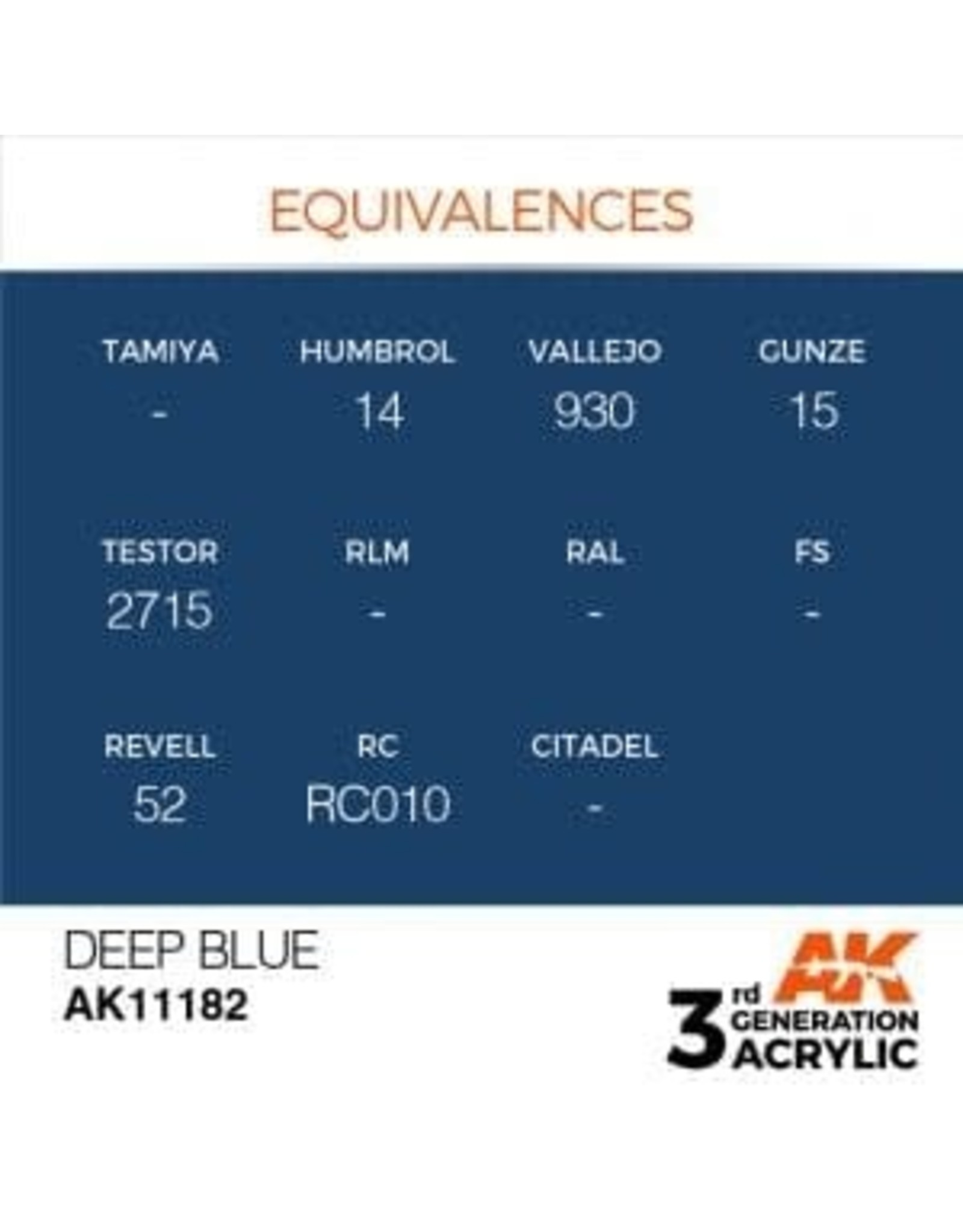 AK Interactive 3RD GEN ACRYLIC DEEP BLUE 17ML