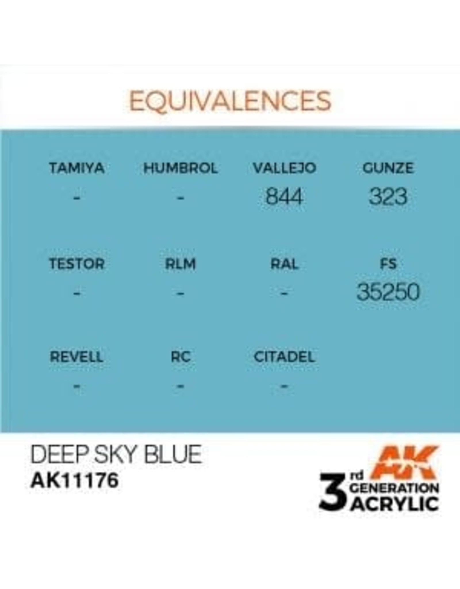 AK Interactive 3RD GEN ACRYLIC DEEP SKY BLUE 17ML