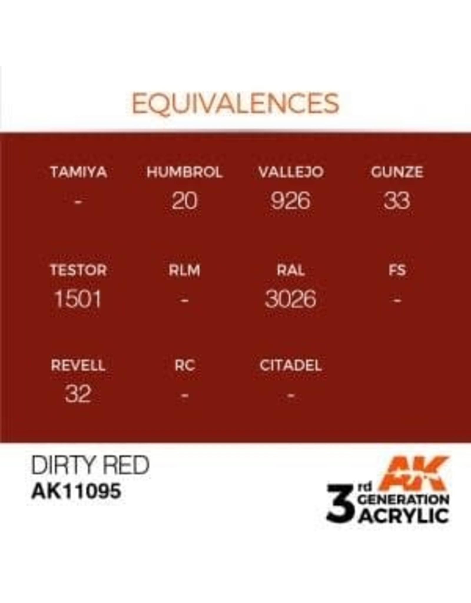 AK Interactive 3RD GEN ACRYLIC DIRTY RED 17ML