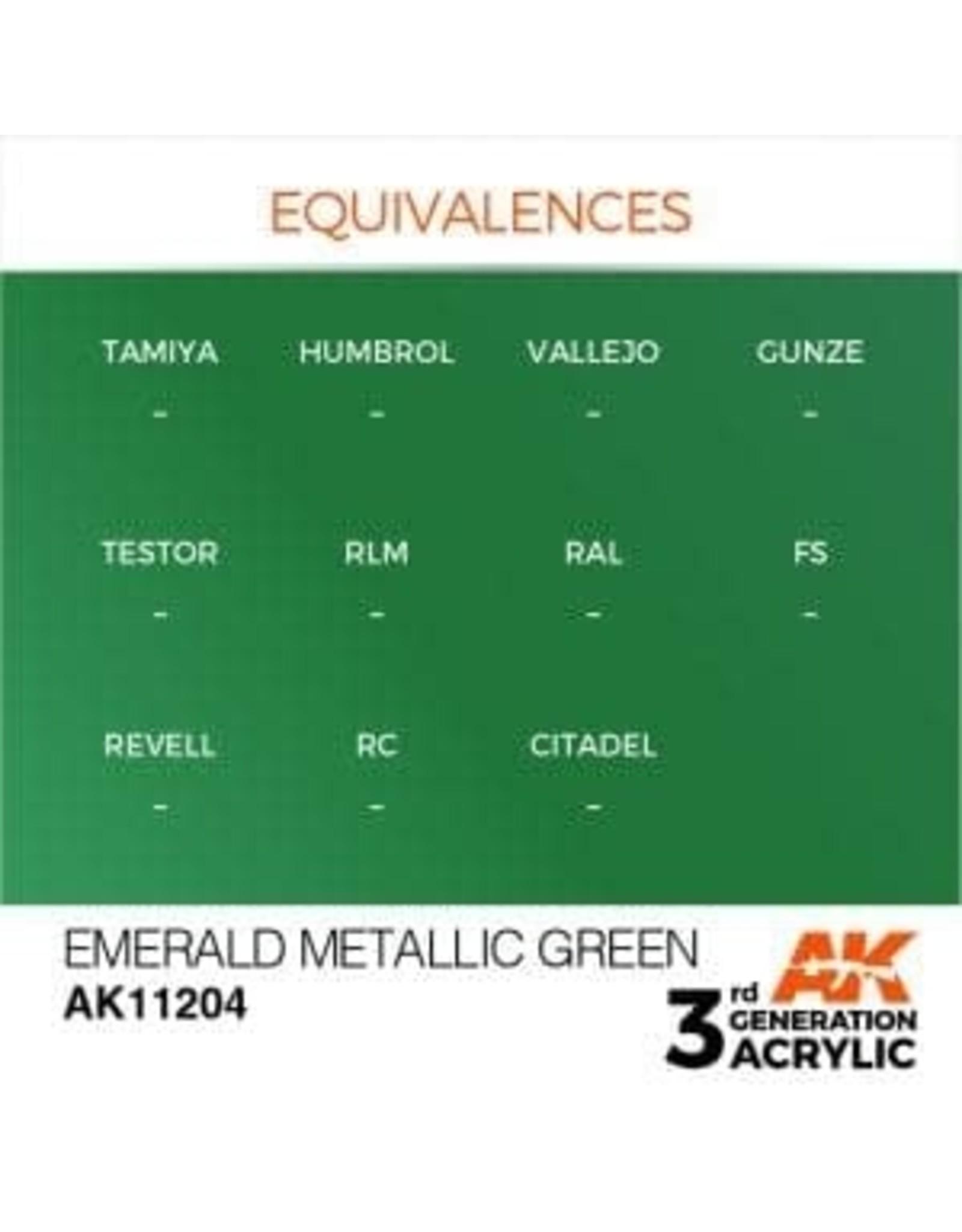 AK Interactive 3RD GEN ACRYLIC EMERALD METALLIC GREEN 17ML