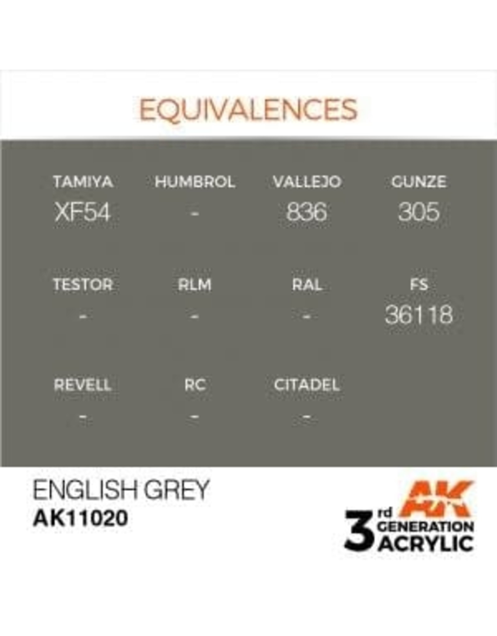 AK Interactive 3RD GEN ACRYLIC ENGLISH GREY 17ML
