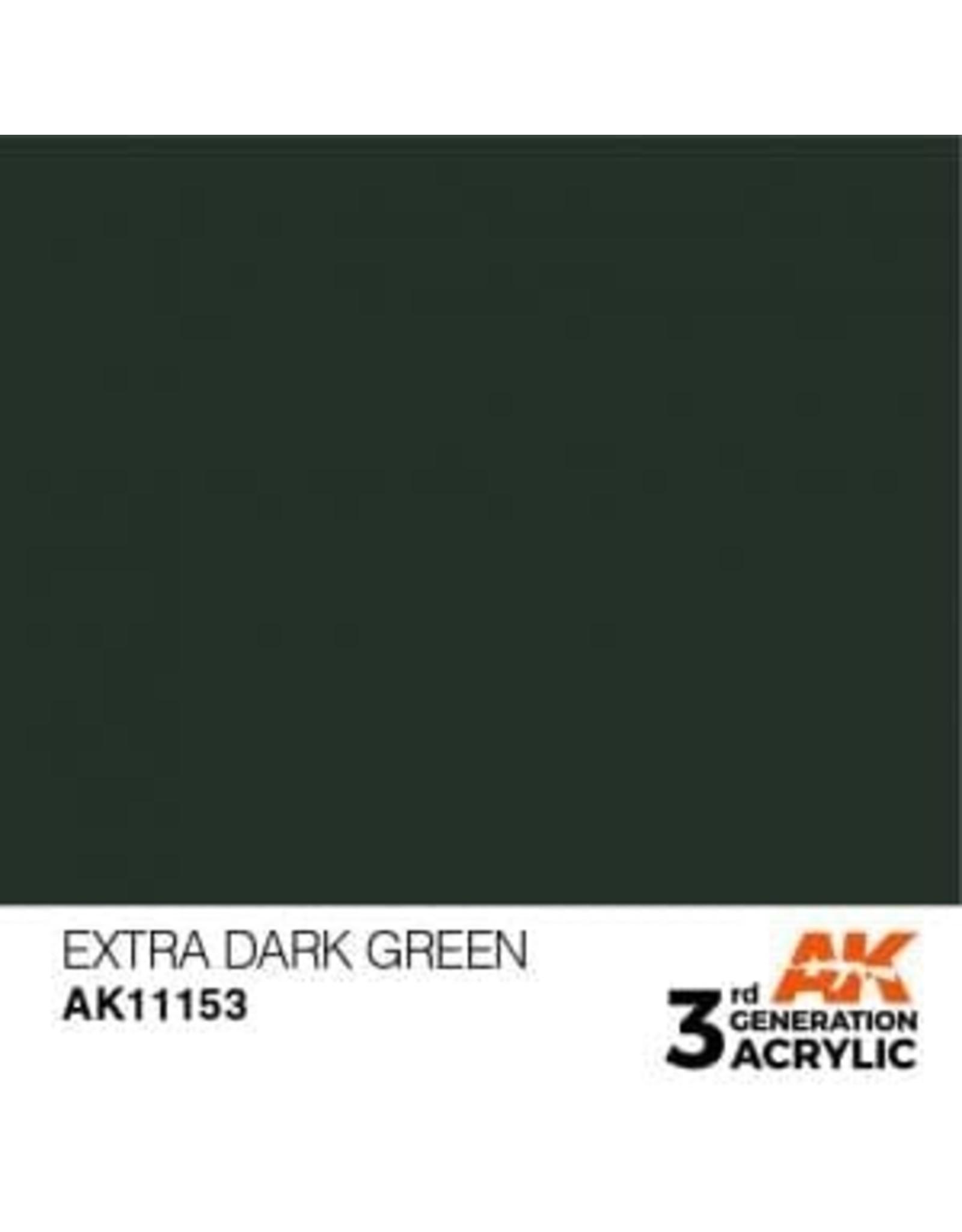 AK Interactive 3RD GEN ACRYLIC EXTRA DARK GREEN 17ML