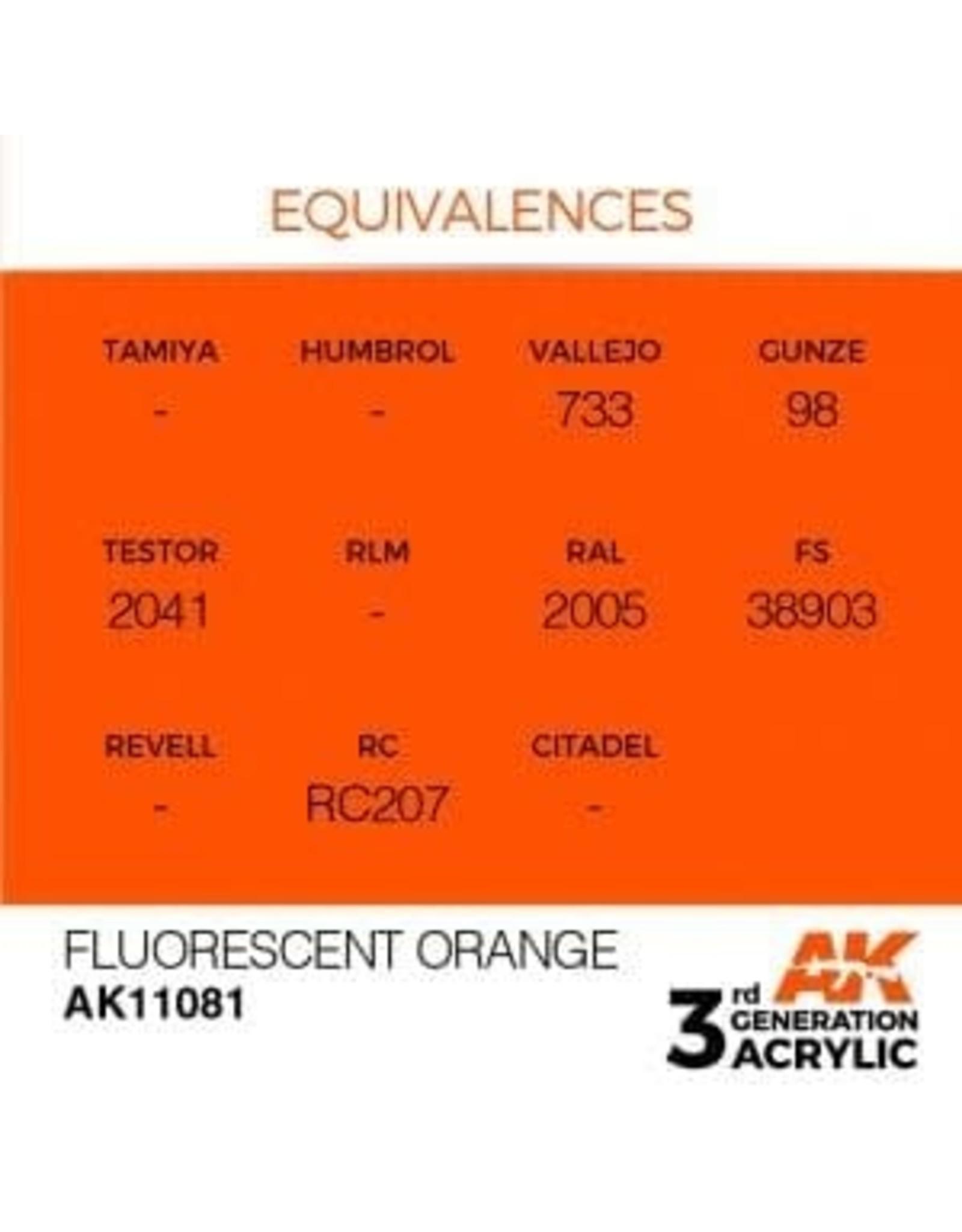 AK Interactive 3RD GEN ACRYLIC FLUORESCENT ORANGE 17ML