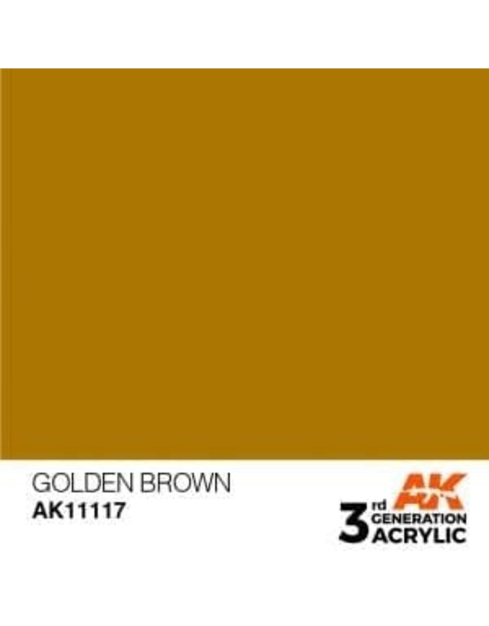 AK Interactive 3RD GEN ACRYLIC GOLDEN BROWN 17ML