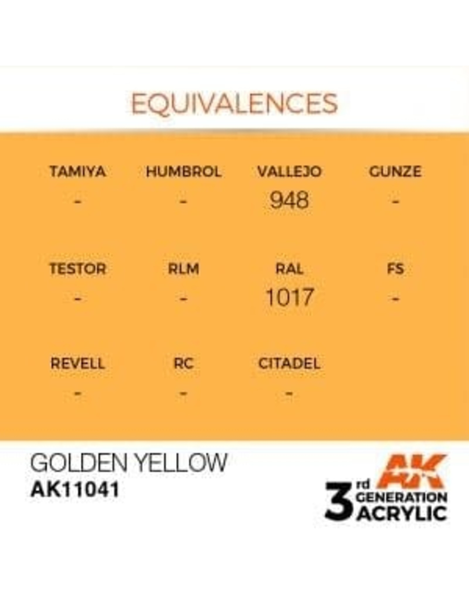 AK Interactive 3RD GEN ACRYLIC GOLDEN YELLOW 17ML