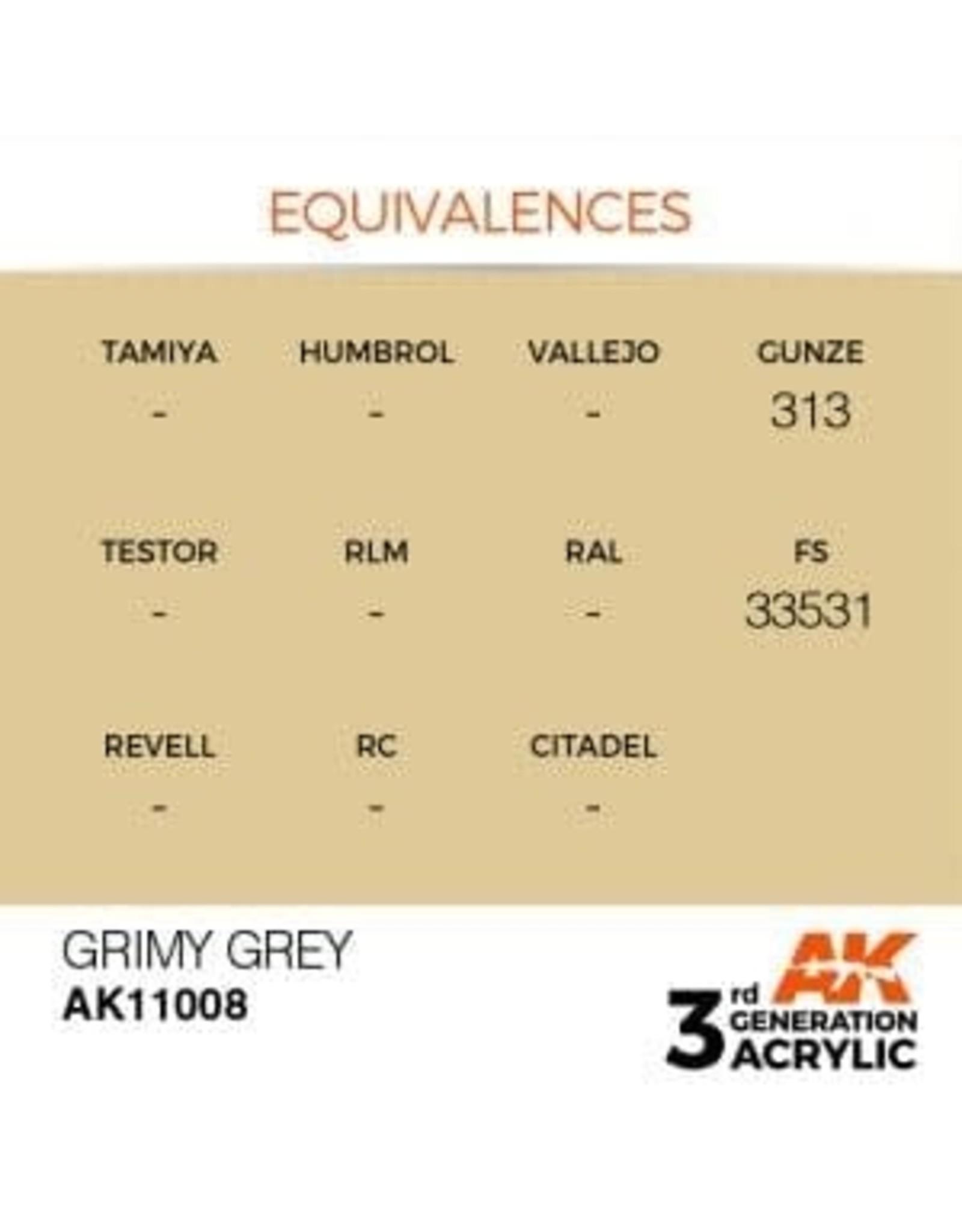 AK Interactive 3RD GEN ACRYLIC GRIMY GREY 17ML