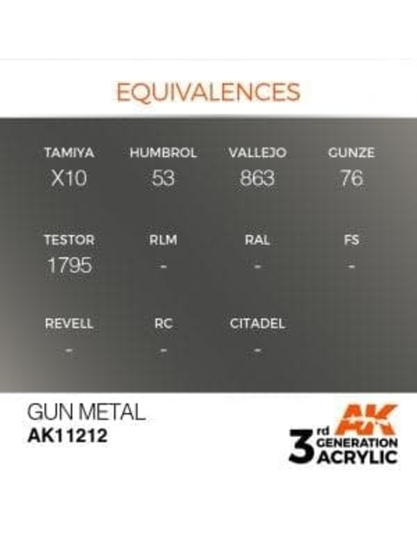 AK Interactive 3RD GEN ACRYLIC GUN METAL 17ML