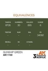 AK Interactive 3RD GEN ACRYLIC GUNSHIP GREEN 17ML