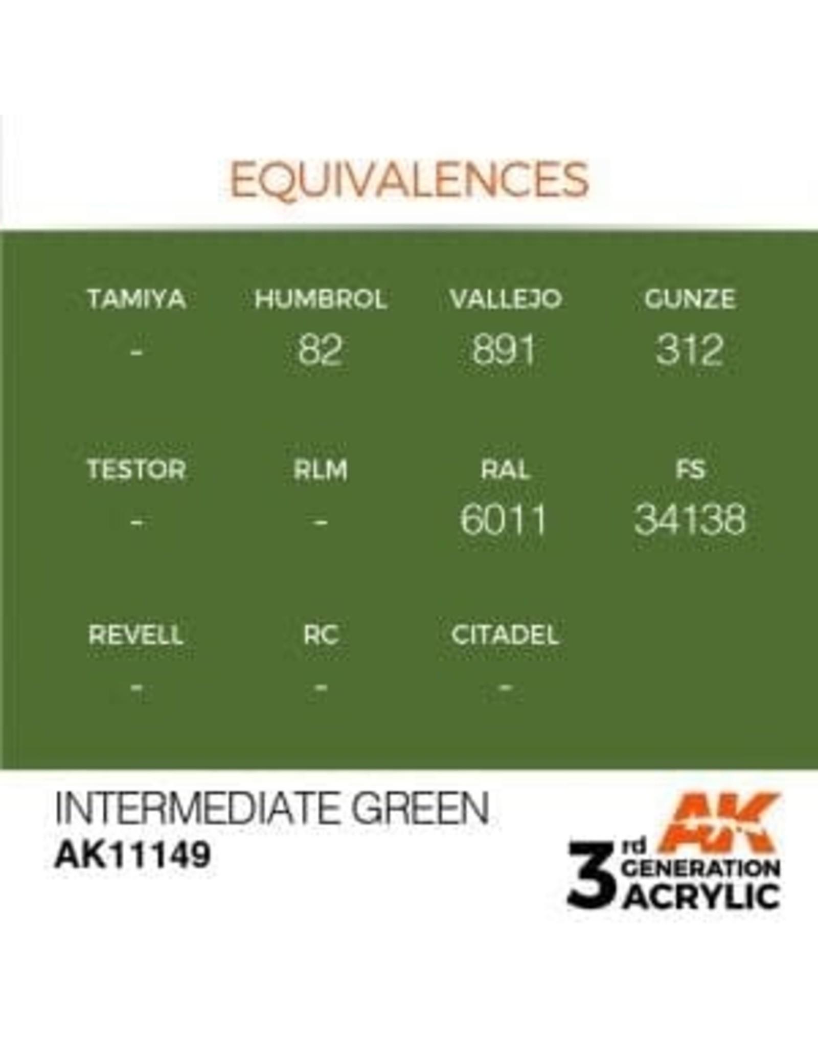 AK Interactive 3RD GEN ACRYLIC INTERMEDIATE GREEN 17ML