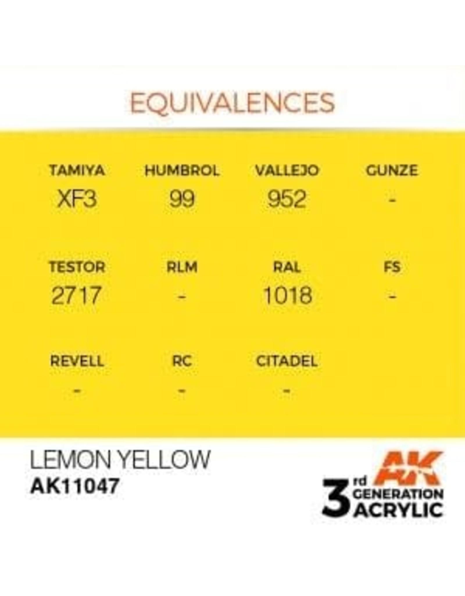 AK Interactive 3RD GEN ACRYLIC LEMON YELLOW 17ML