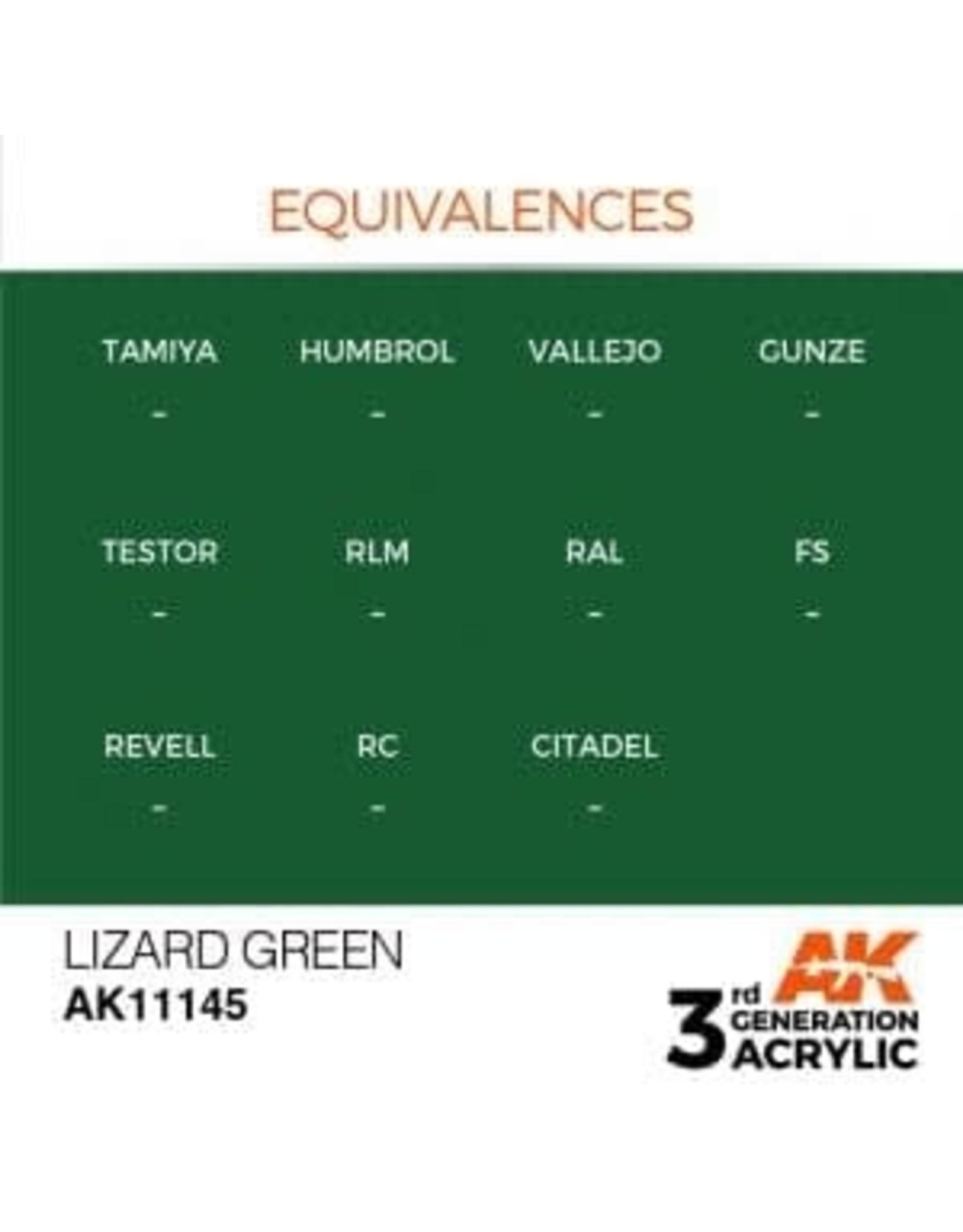 AK Interactive 3RD GEN ACRYLIC LIZARD GREEN 17ML