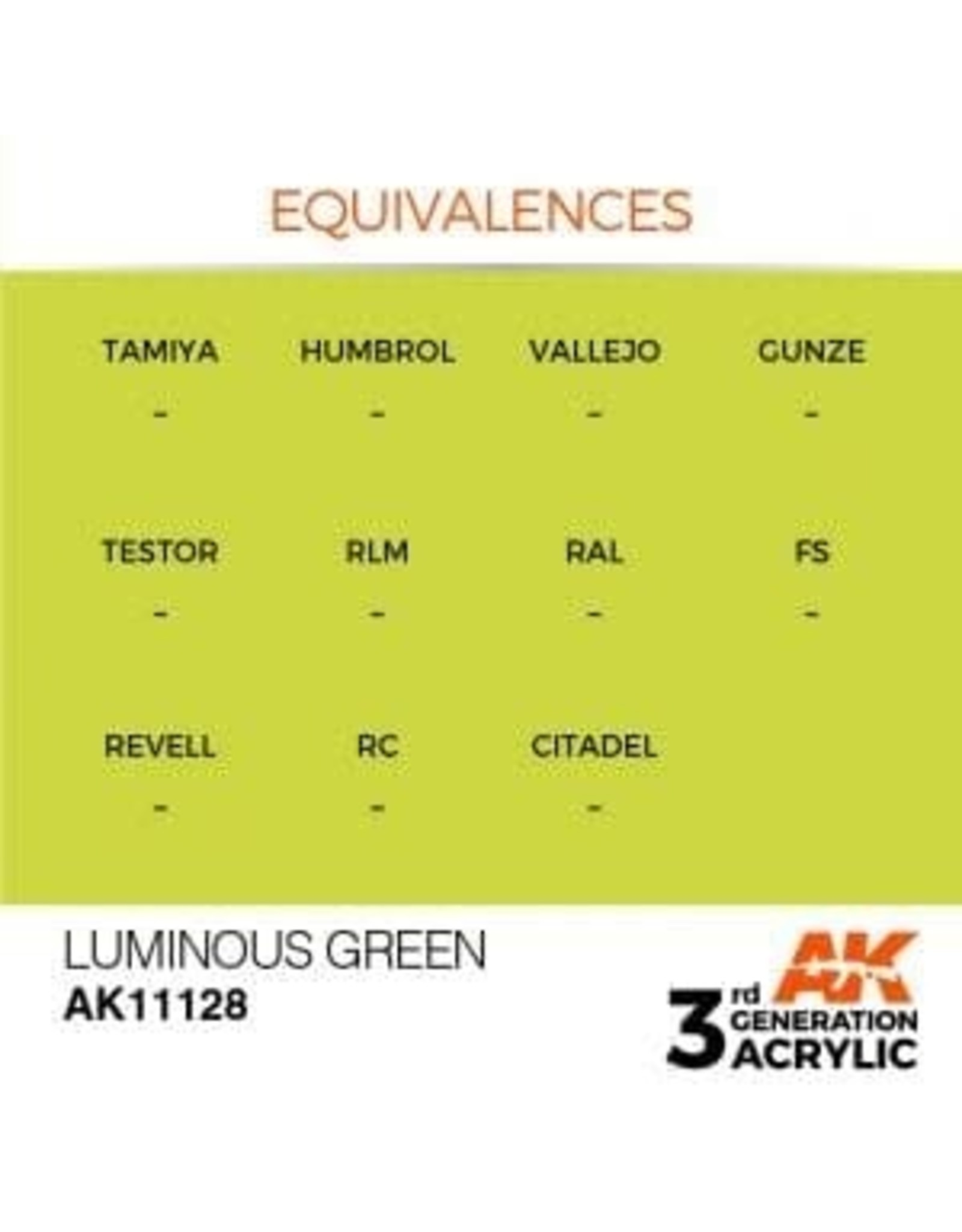 AK Interactive 3RD GEN ACRYLIC LUMINOUS GREEN 17ML