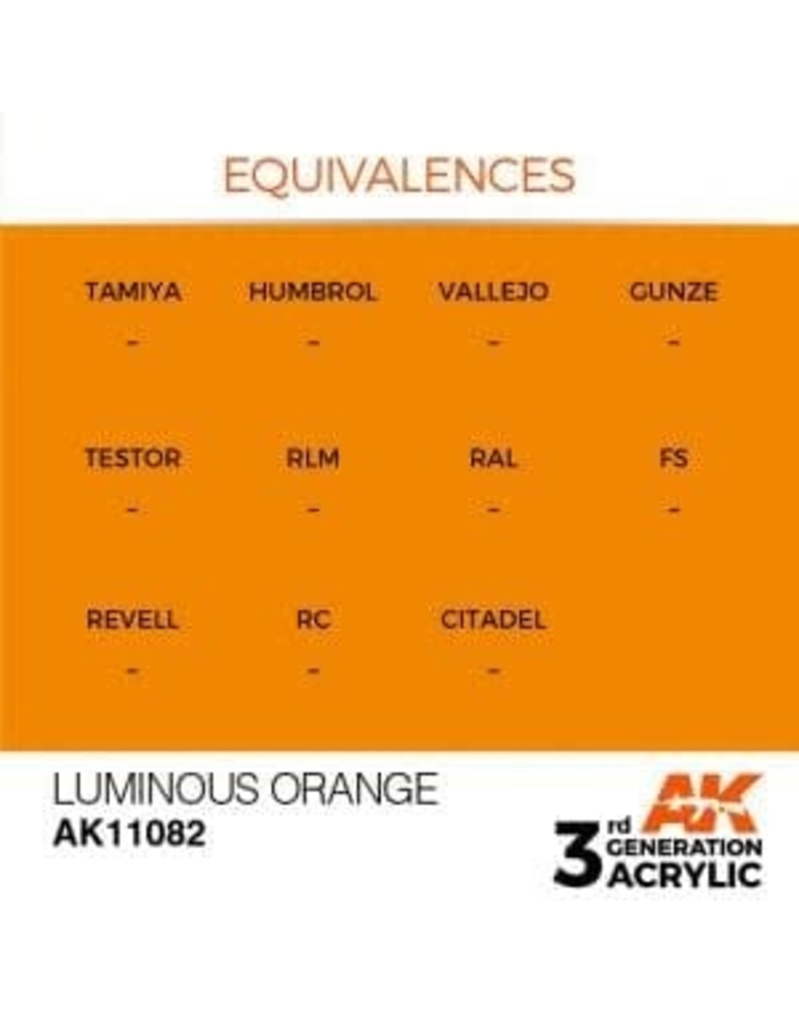 AK Interactive 3RD GEN ACRYLIC LUMINOUS ORANGE 17ML