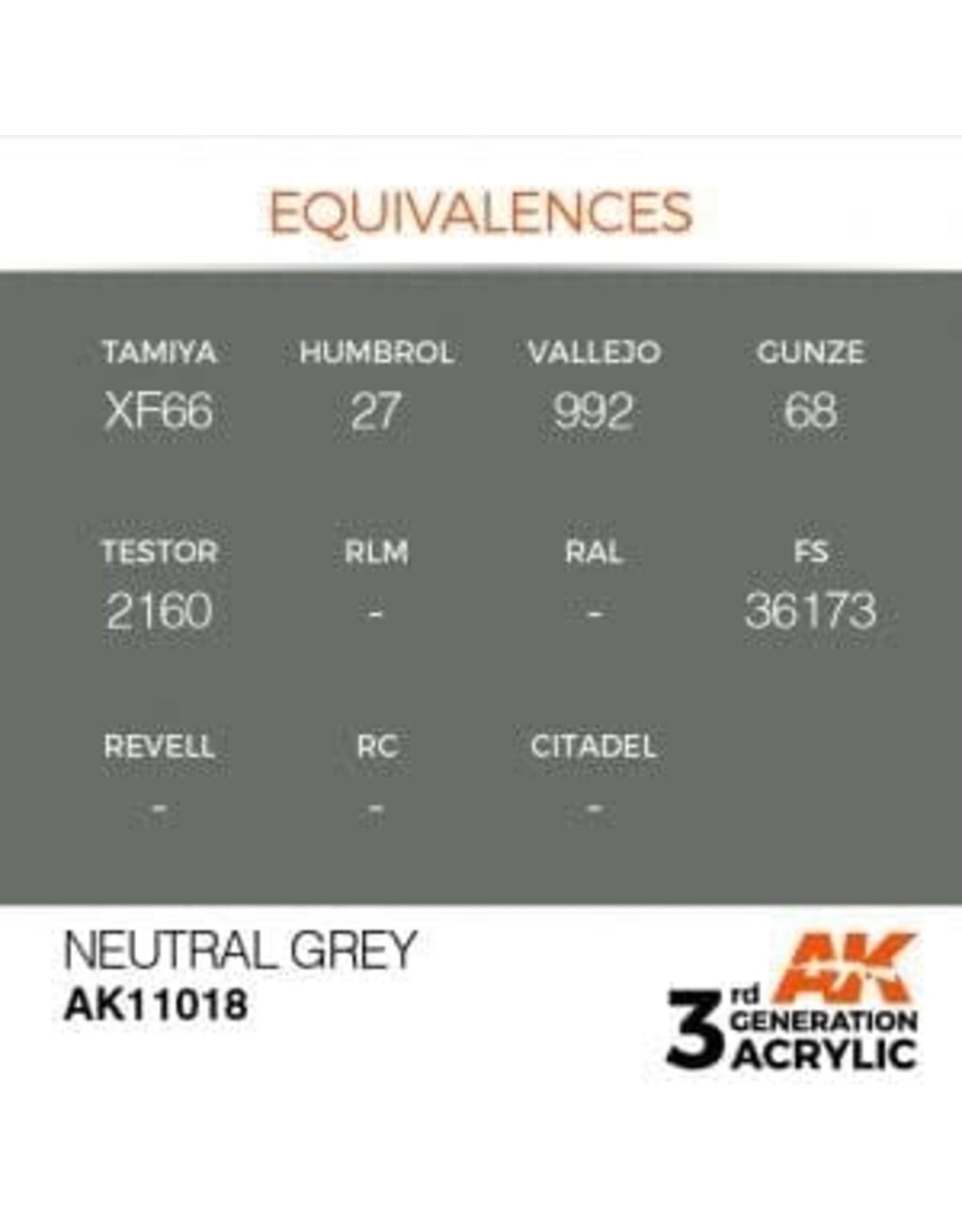 AK Interactive 3RD GEN ACRYLIC NEUTRAL GREY 17ML