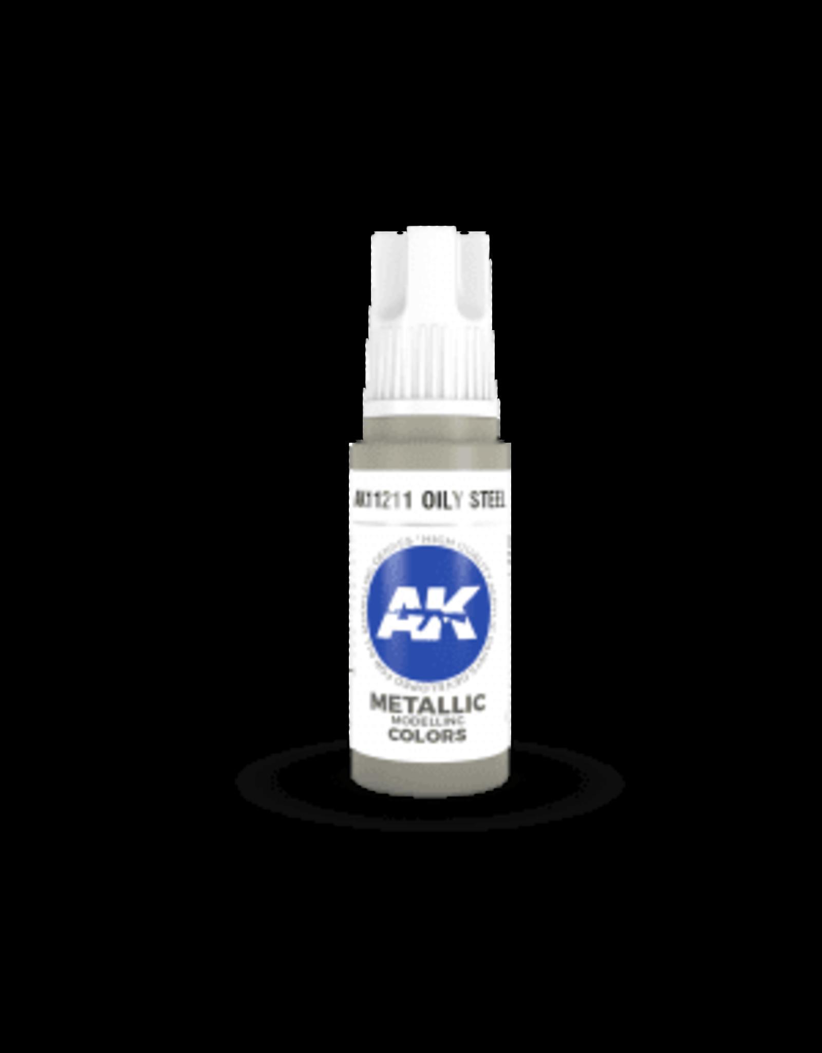 AK Interactive 3RD GEN ACRYLIC OILY STEEL 17ML