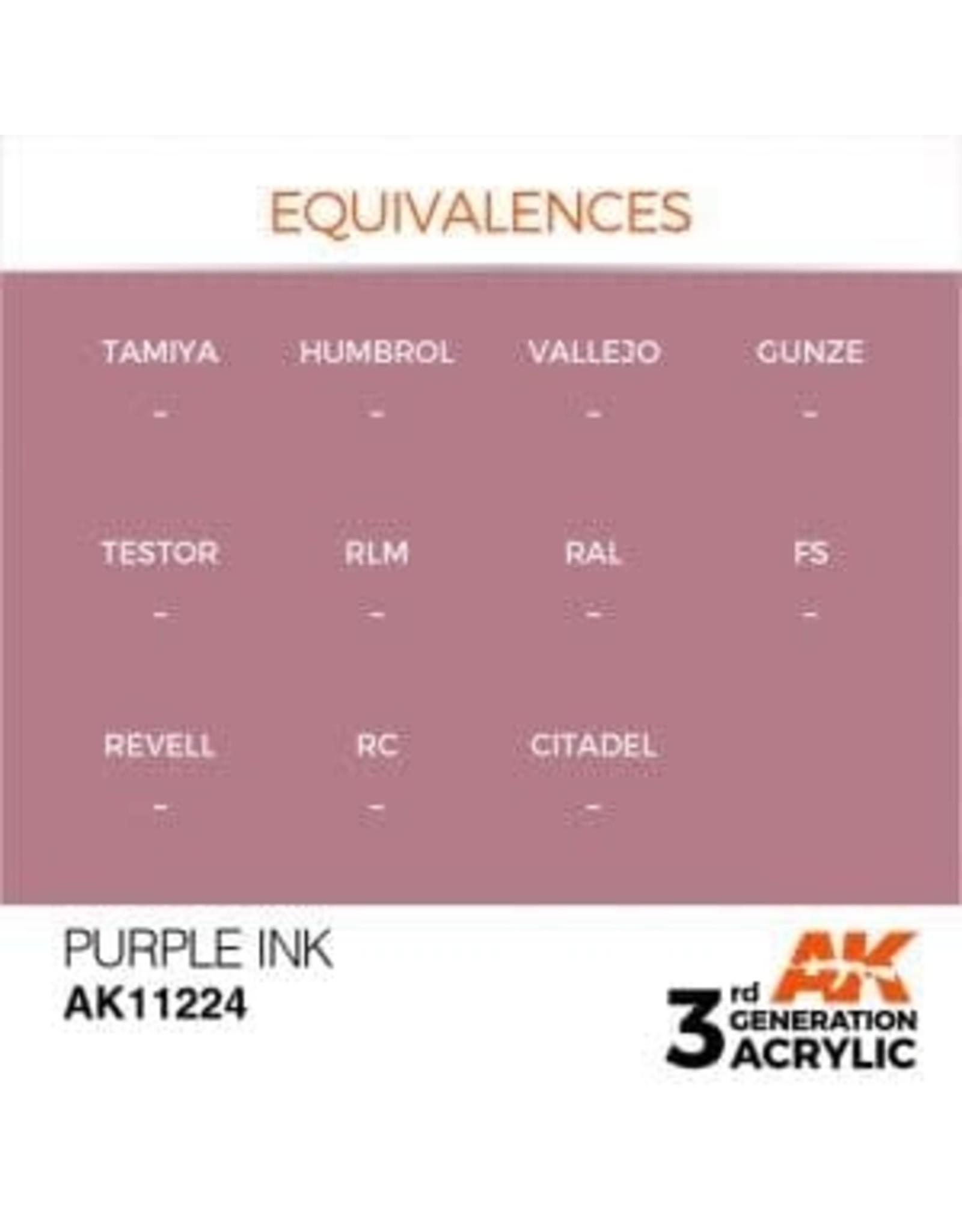 AK Interactive 3RD GEN ACRYLIC PURPLE INK 17ML