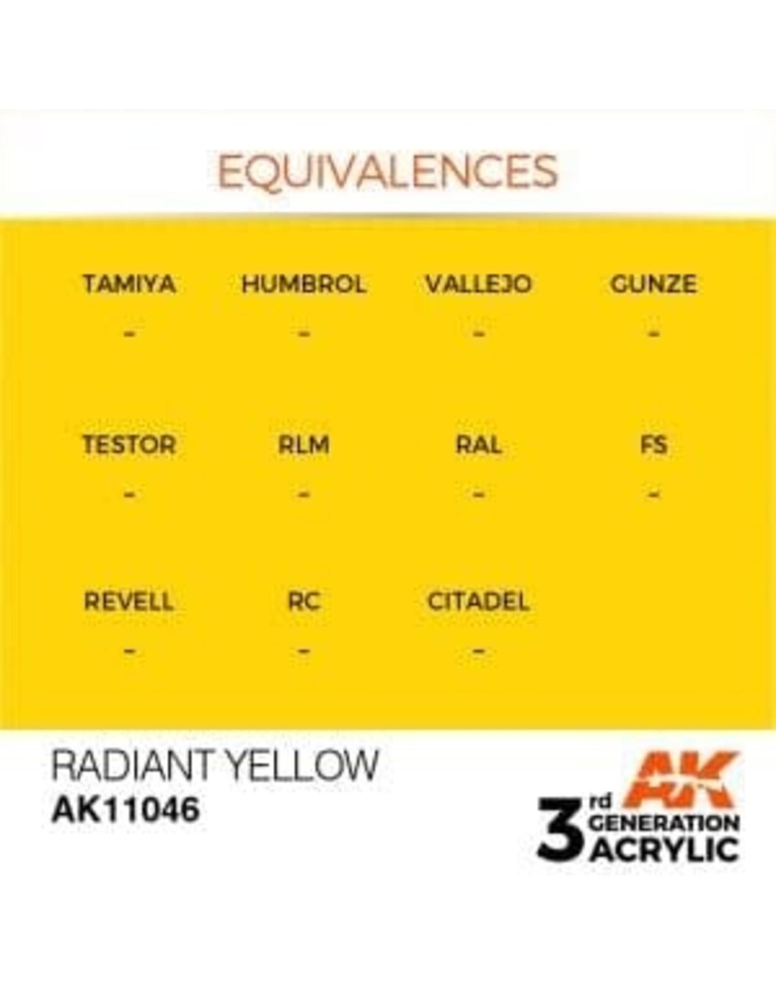 AK Interactive 3RD GEN ACRYLIC RADIANT YELLOW 17ML